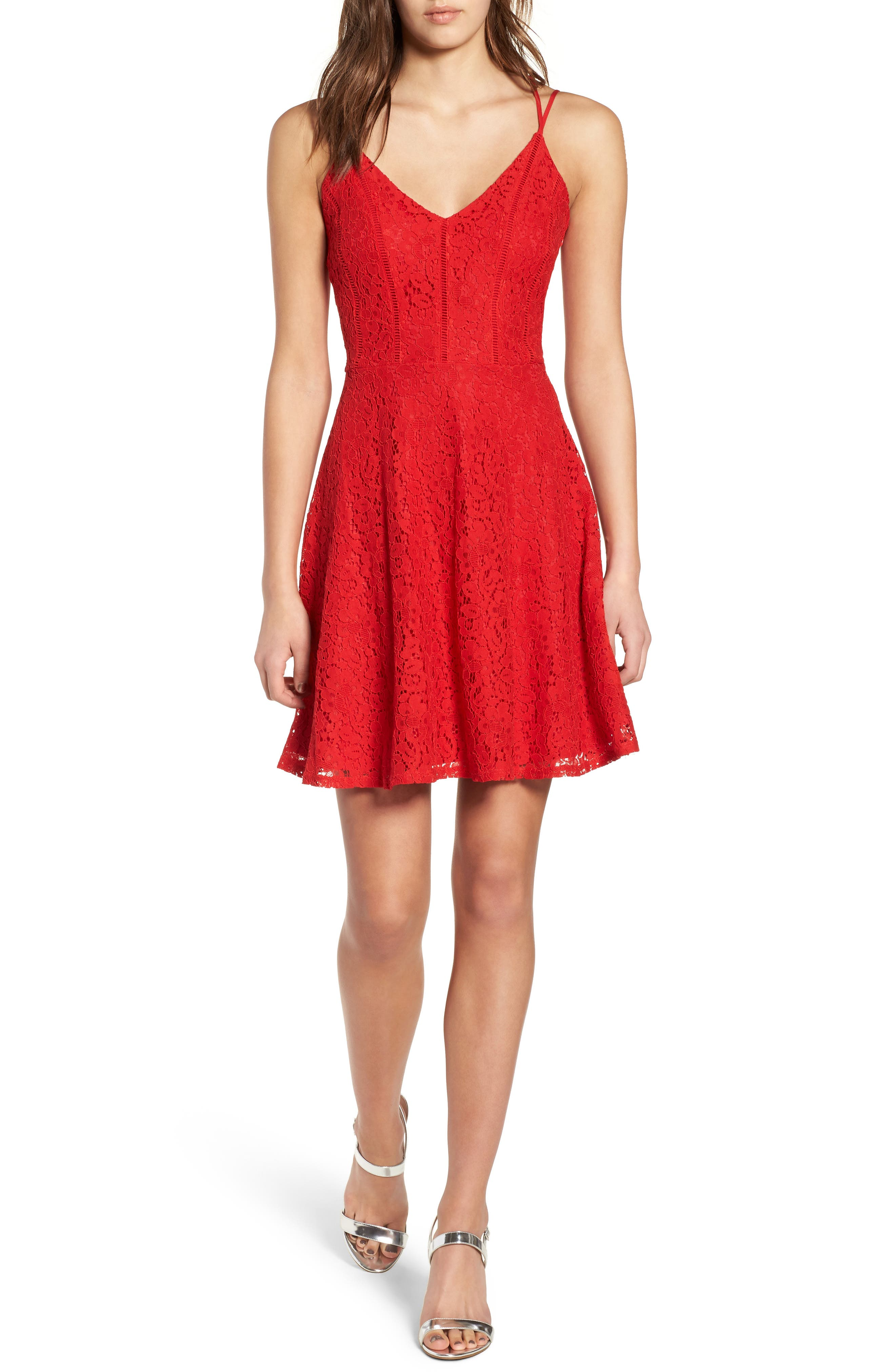 Strappy Lace Fit & Flare Dress,                         Main,                         color, Tomato