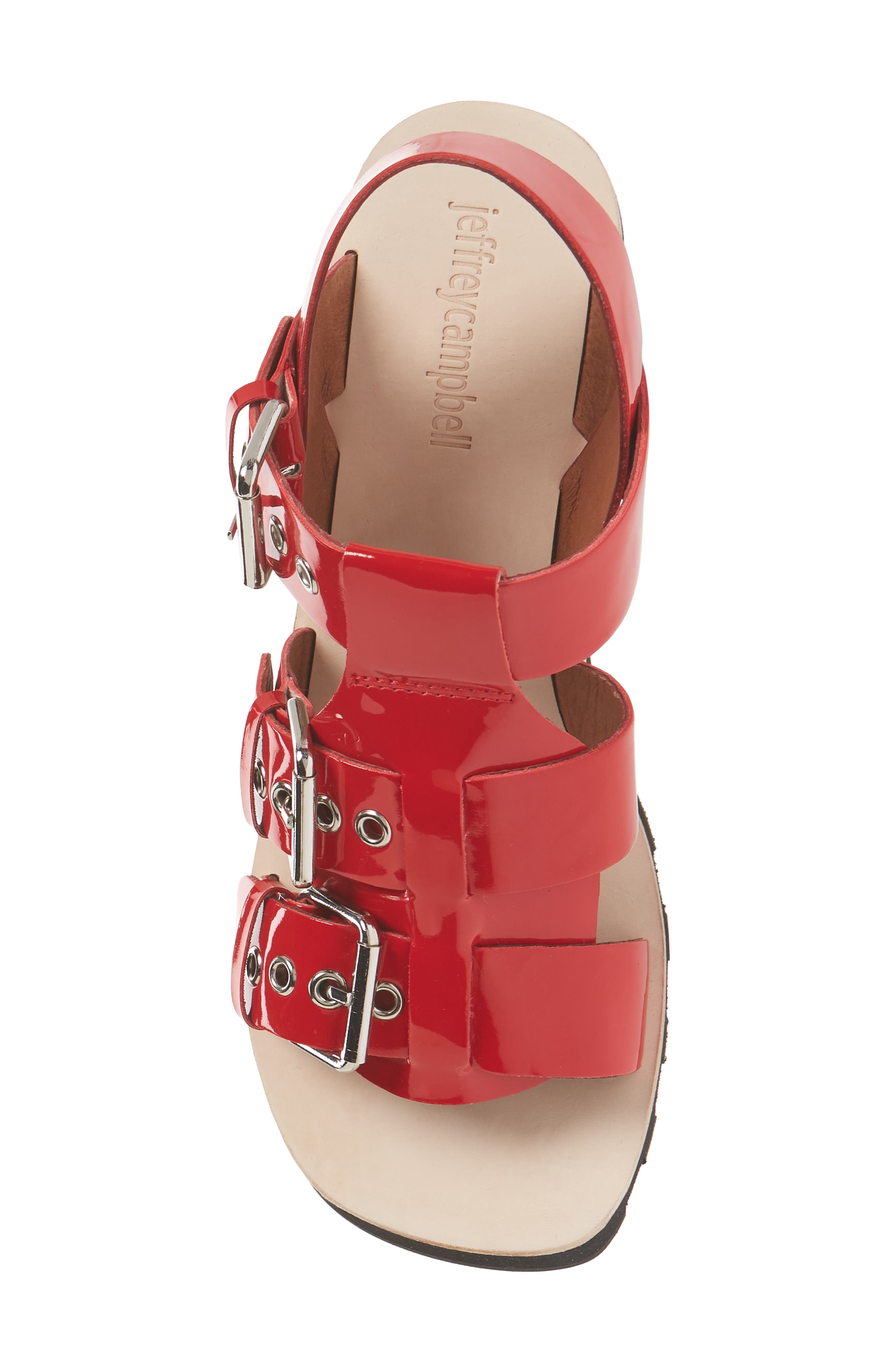 Riveter Lugged Buckle Sandal,                             Alternate thumbnail 5, color,                             Red Patent