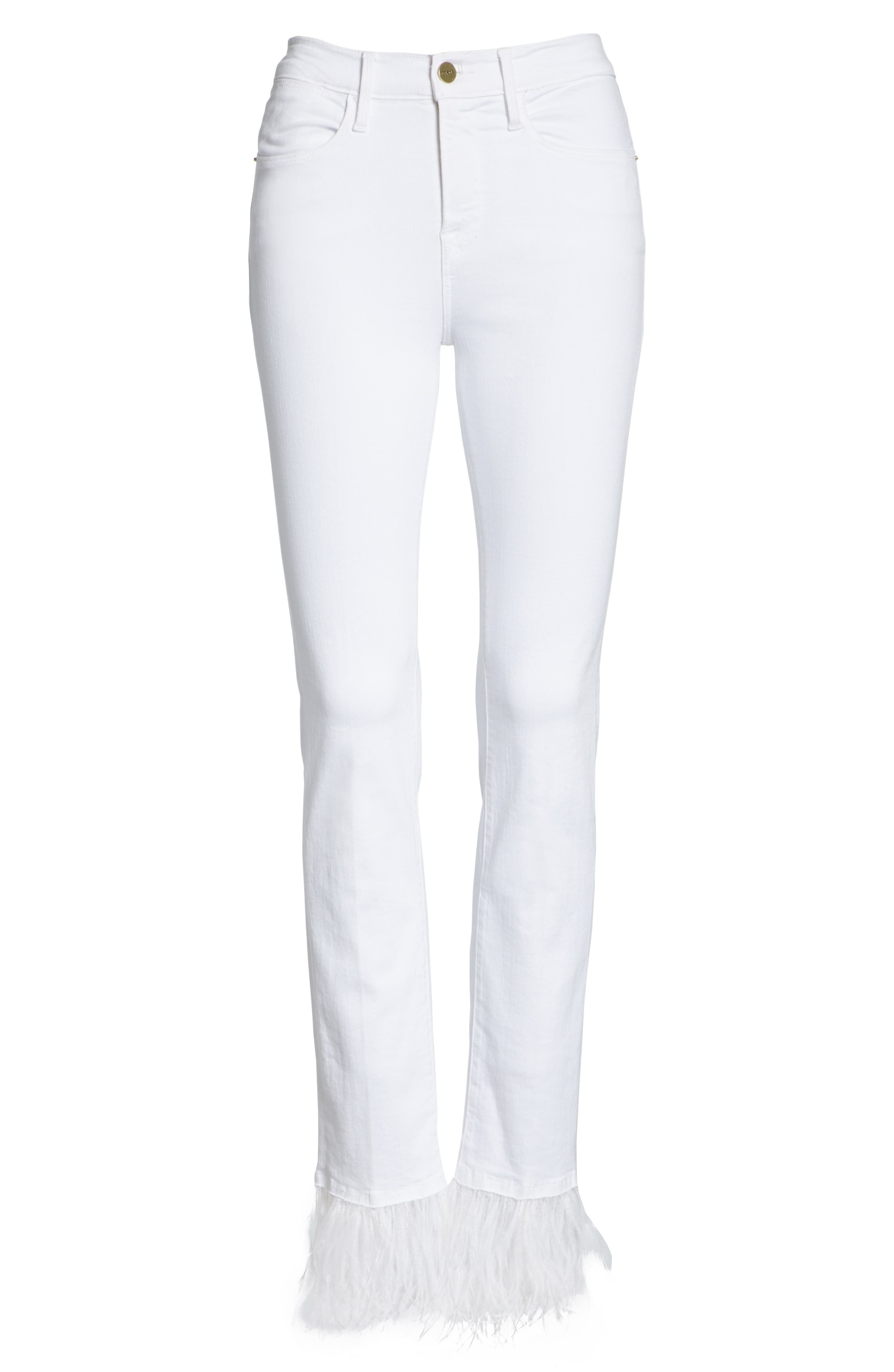 Le High Straight Feather Hem Jeans,                             Alternate thumbnail 6, color,                             Blanc