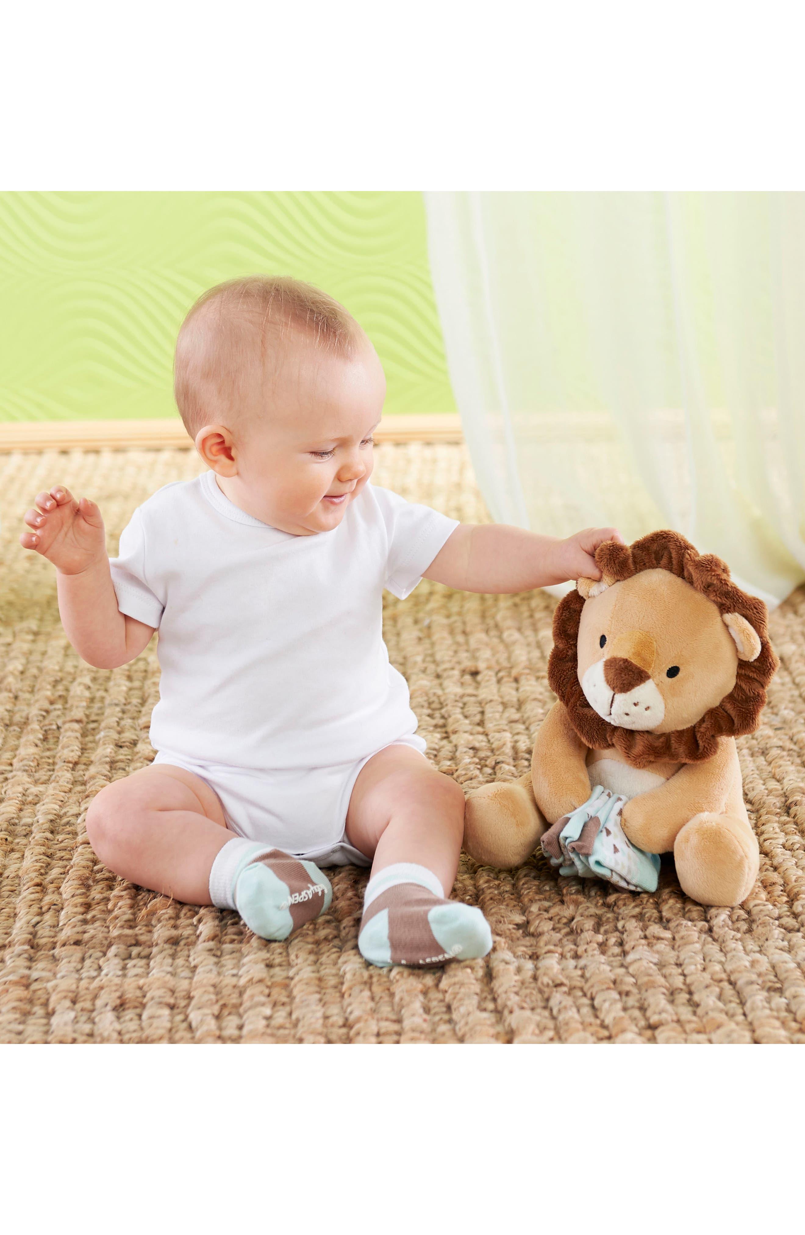 Lion Safari Hooded Blanket, 3-Pack Socks & Stuffed Animal Set,                             Alternate thumbnail 2, color,