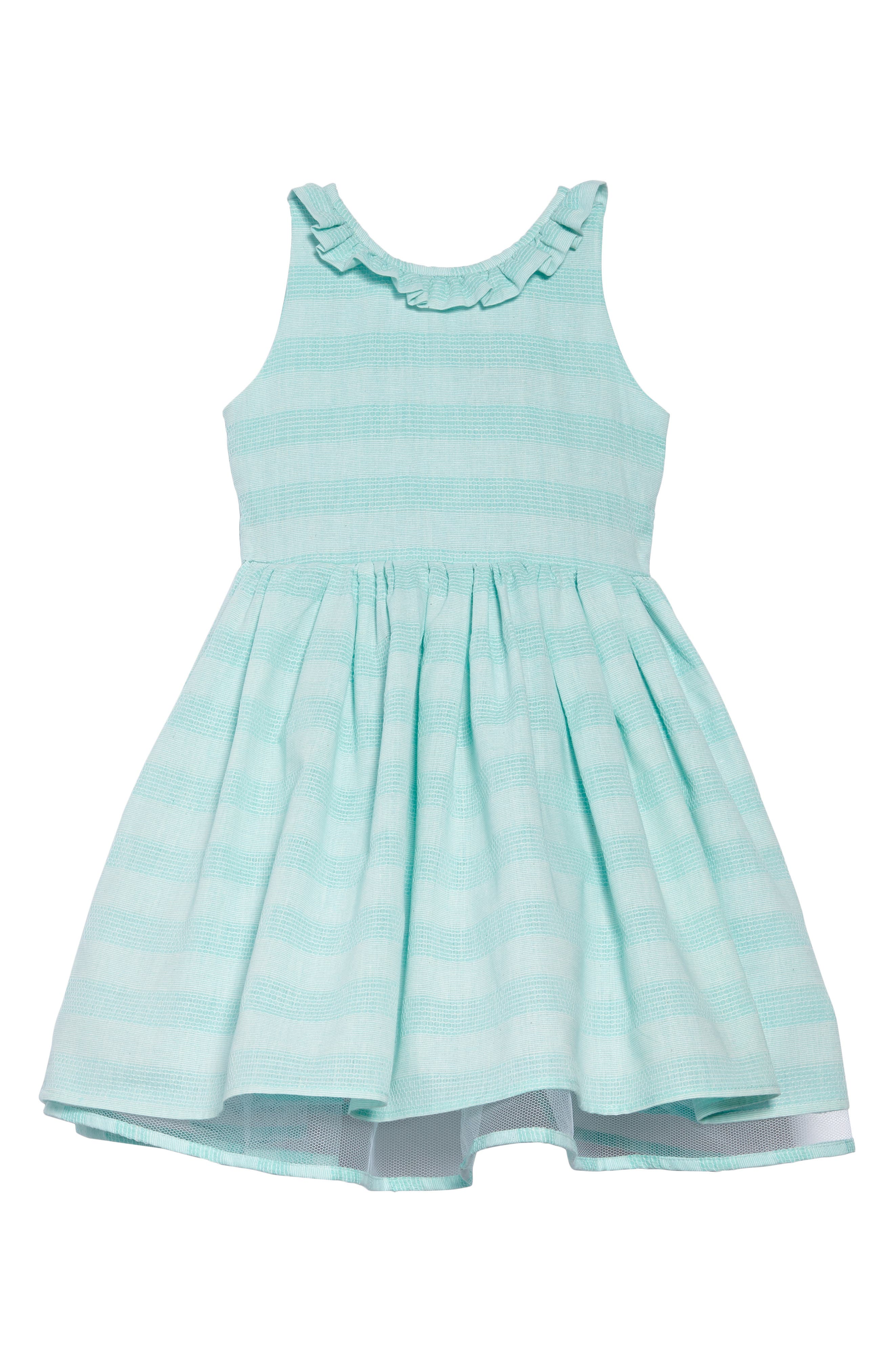 Shadow Stripe Party Dress,                             Main thumbnail 1, color,                             Turquoise