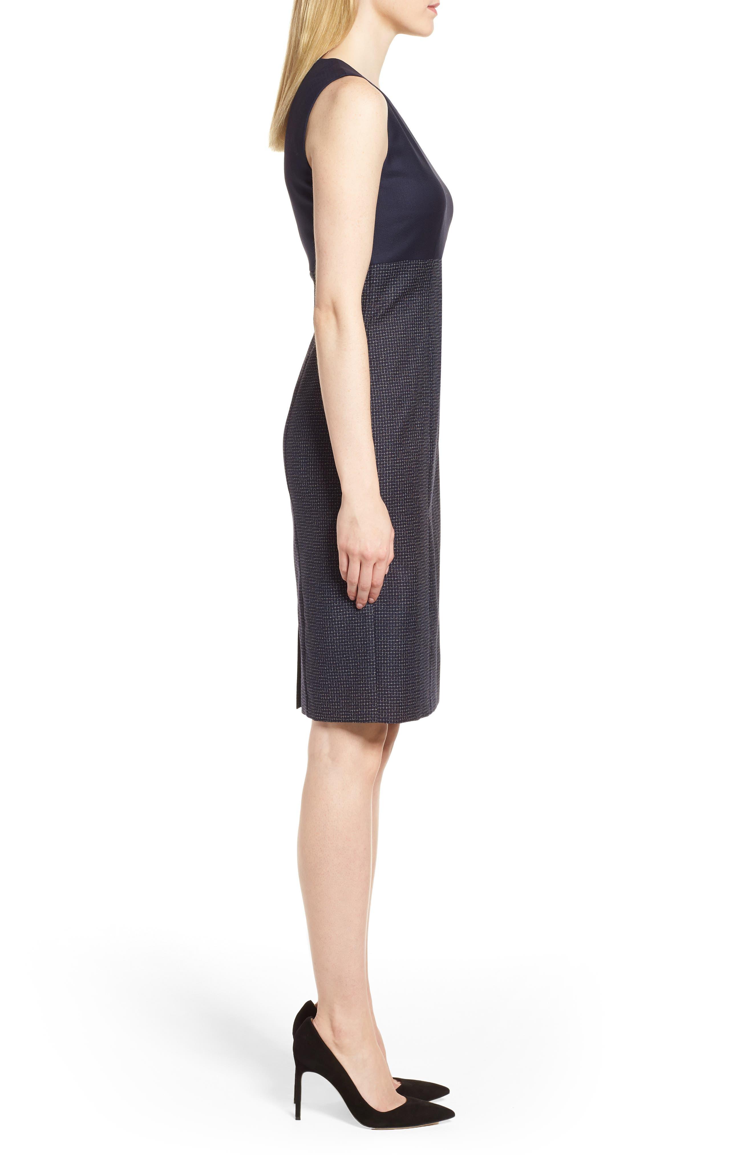 Dibena Windowpane Sheath Dress,                             Alternate thumbnail 3, color,                             Vanilla Light Fantasy