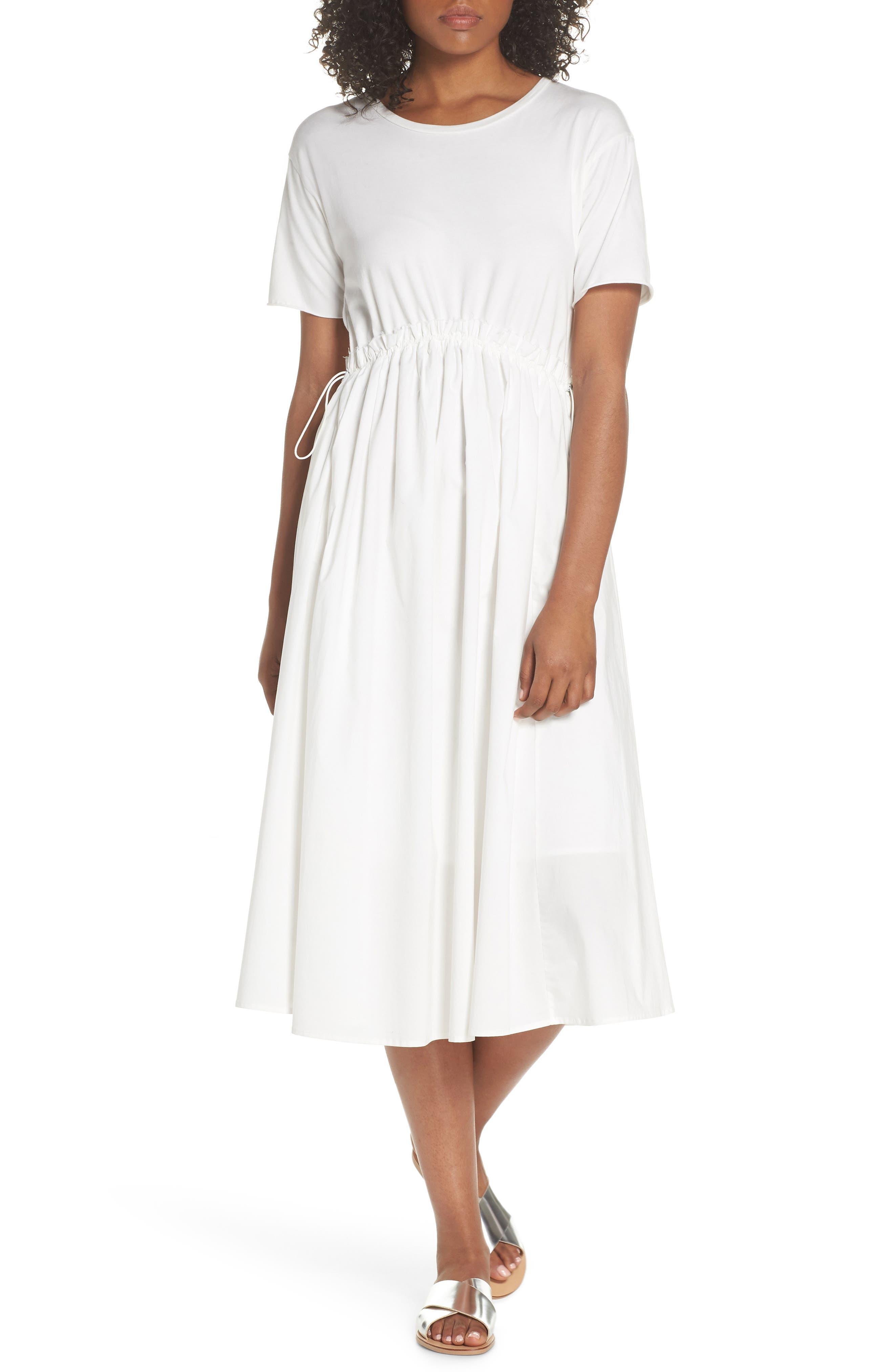 Tie Back Midi Dress,                             Main thumbnail 1, color,                             White