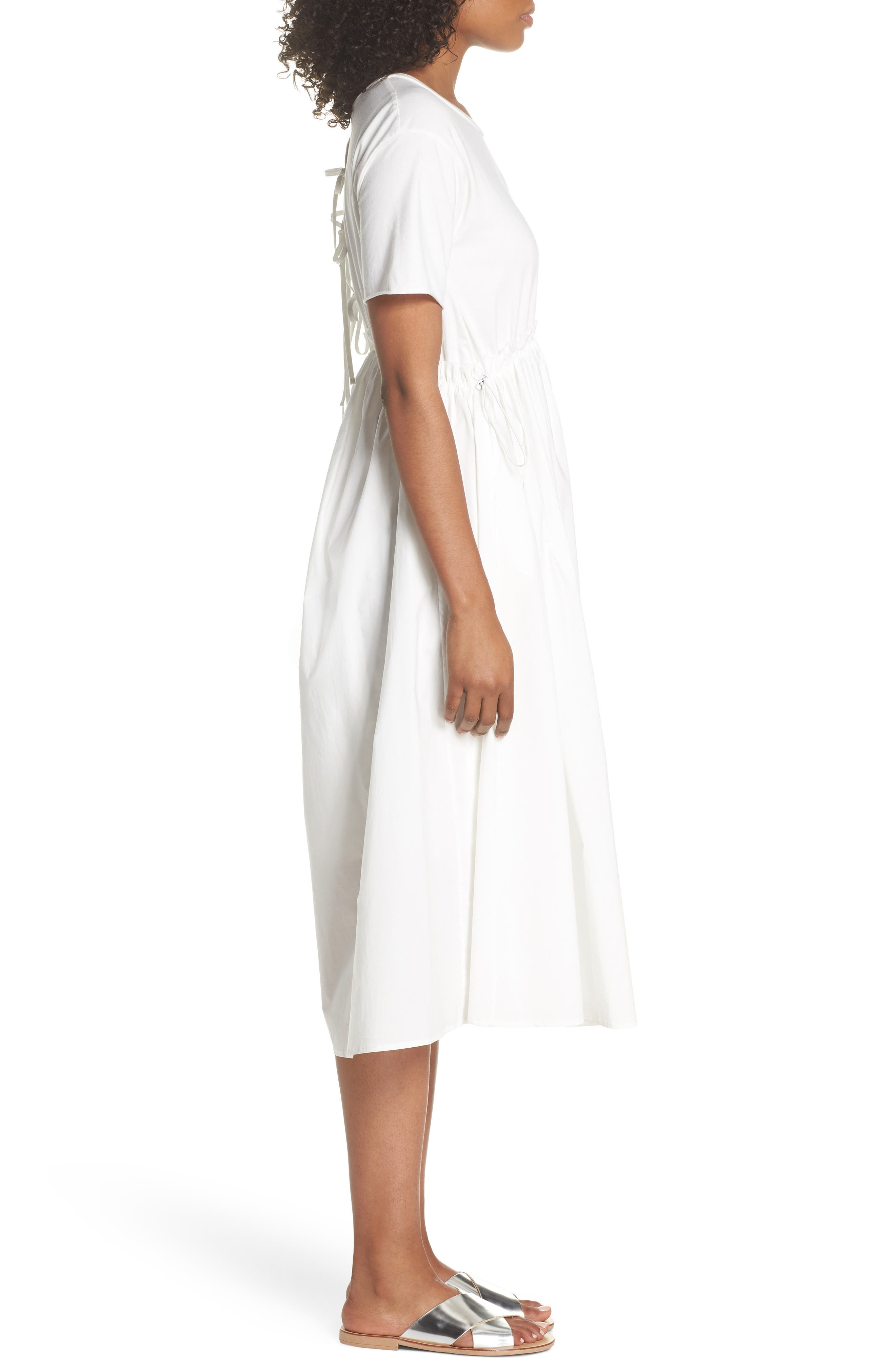 Tie Back Midi Dress,                             Alternate thumbnail 3, color,                             White
