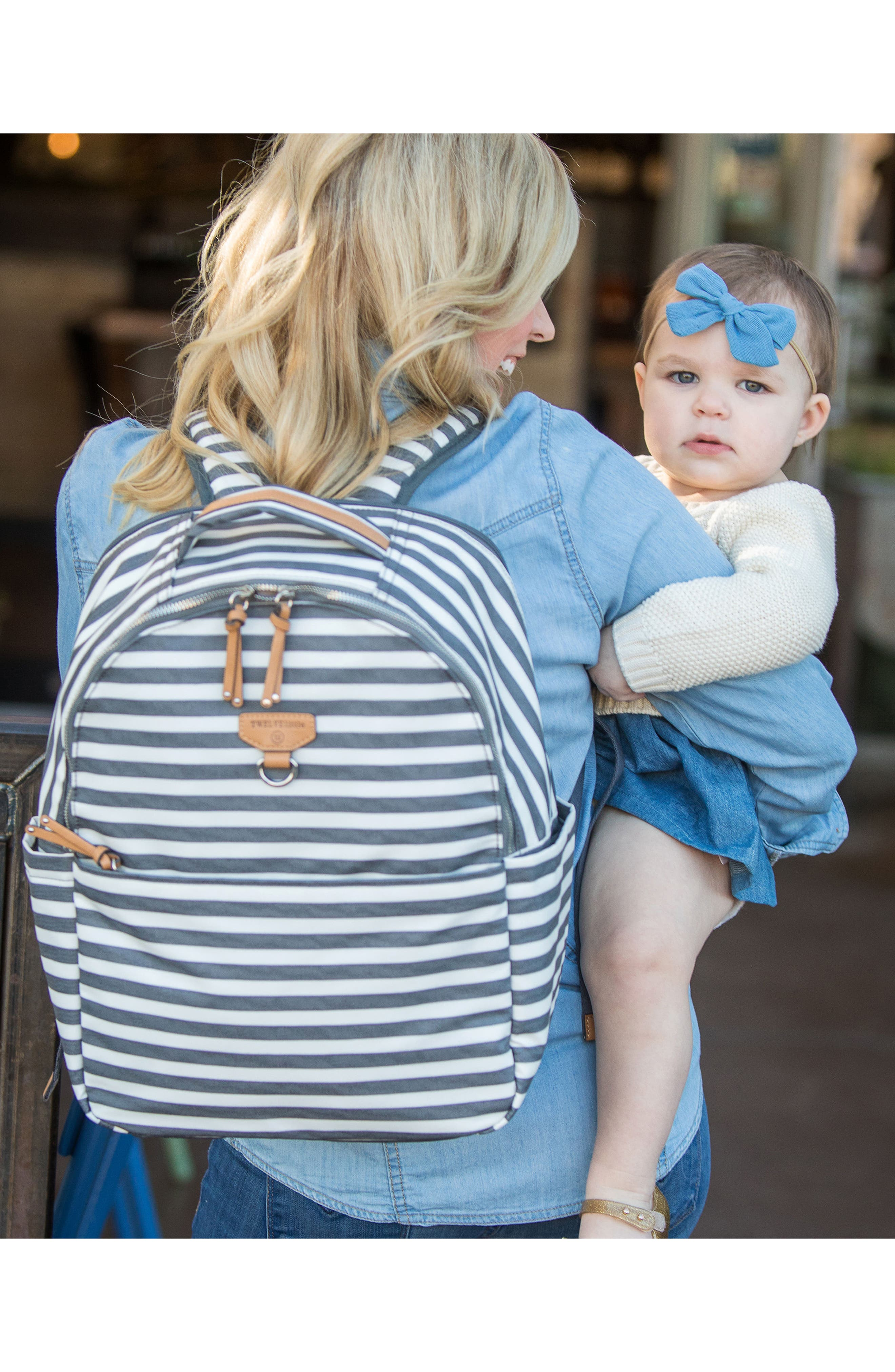 On-the-Go Water Resistant Diaper Backpack,                             Alternate thumbnail 6, color,                             Stripe