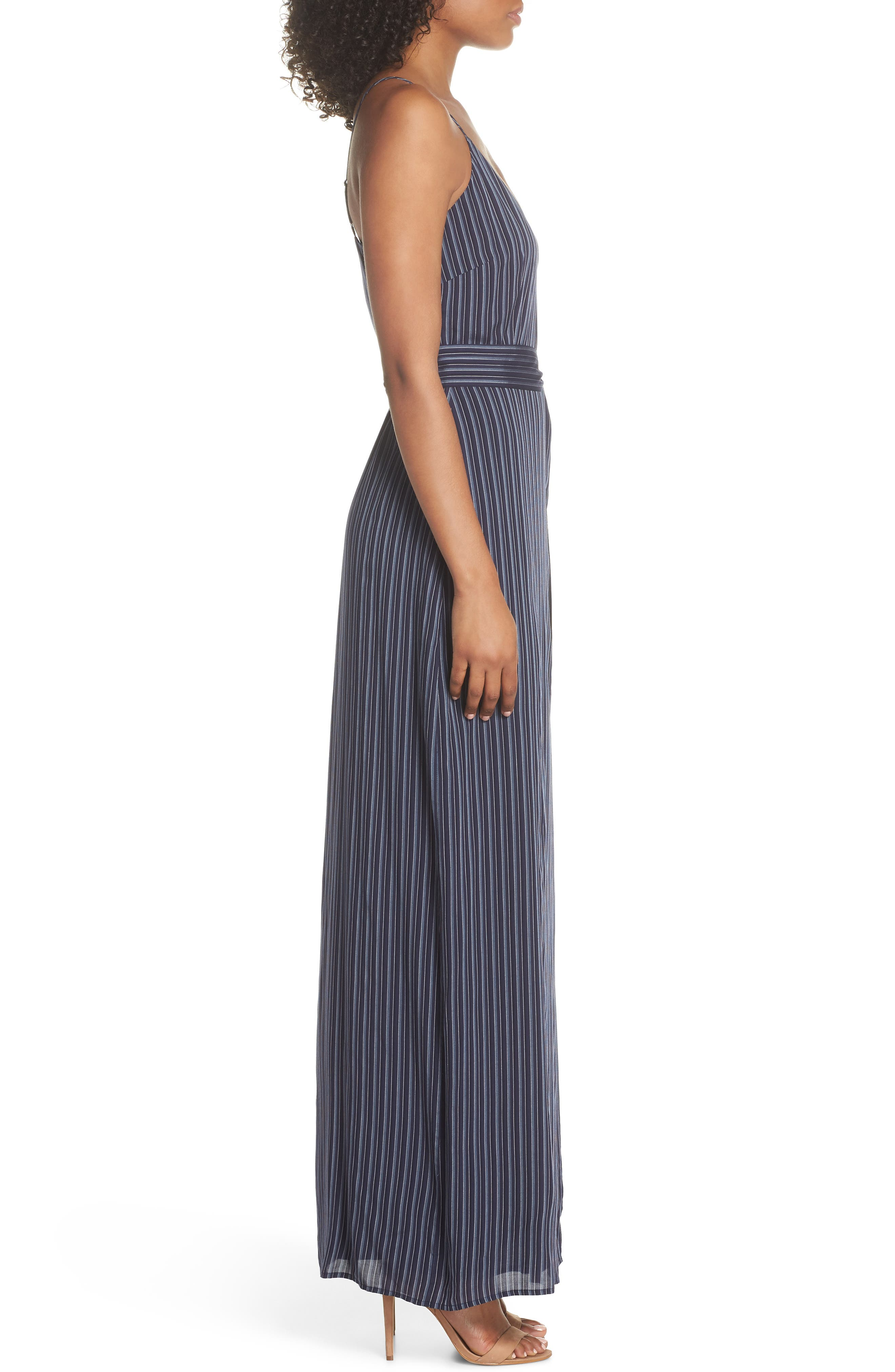 Regina Stripe Maxi Wrap Dress,                             Alternate thumbnail 3, color,                             Rich Navy Multi