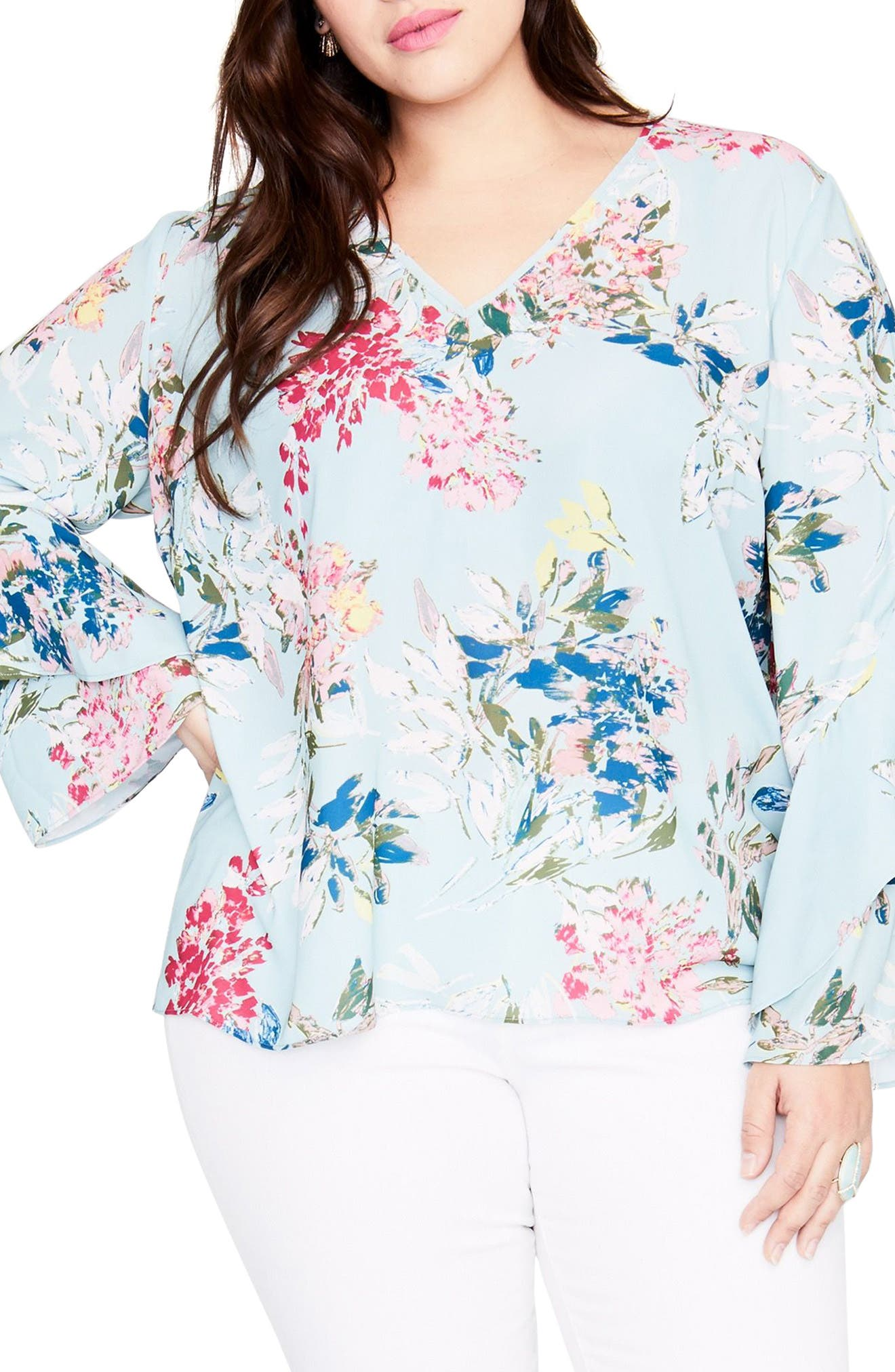 Frill Sleeve Blouse,                         Main,                         color, Mint Leaf Combo