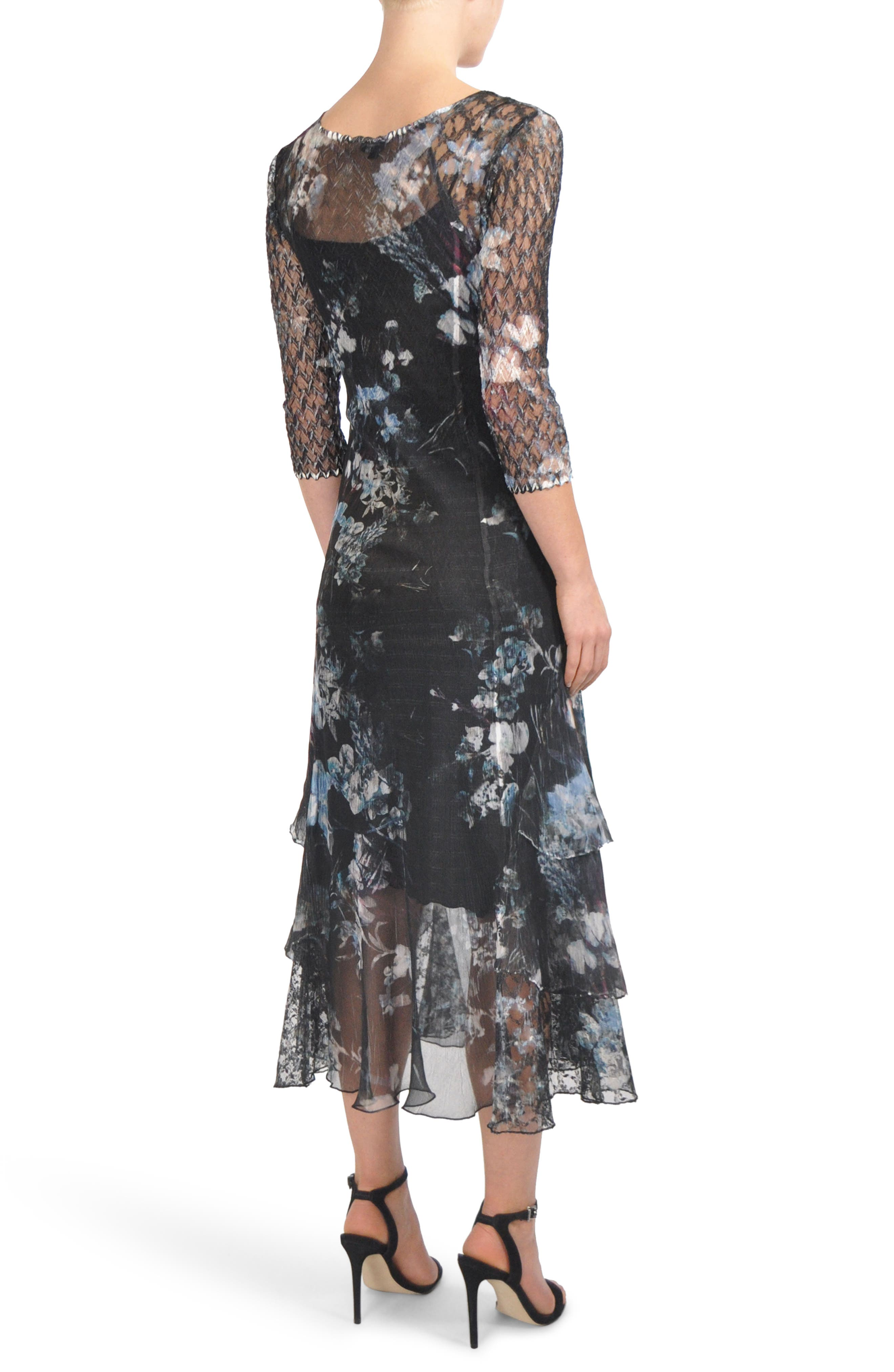 Floral Tiered Hem Chiffon Dress,                             Alternate thumbnail 2, color,                             India Ink
