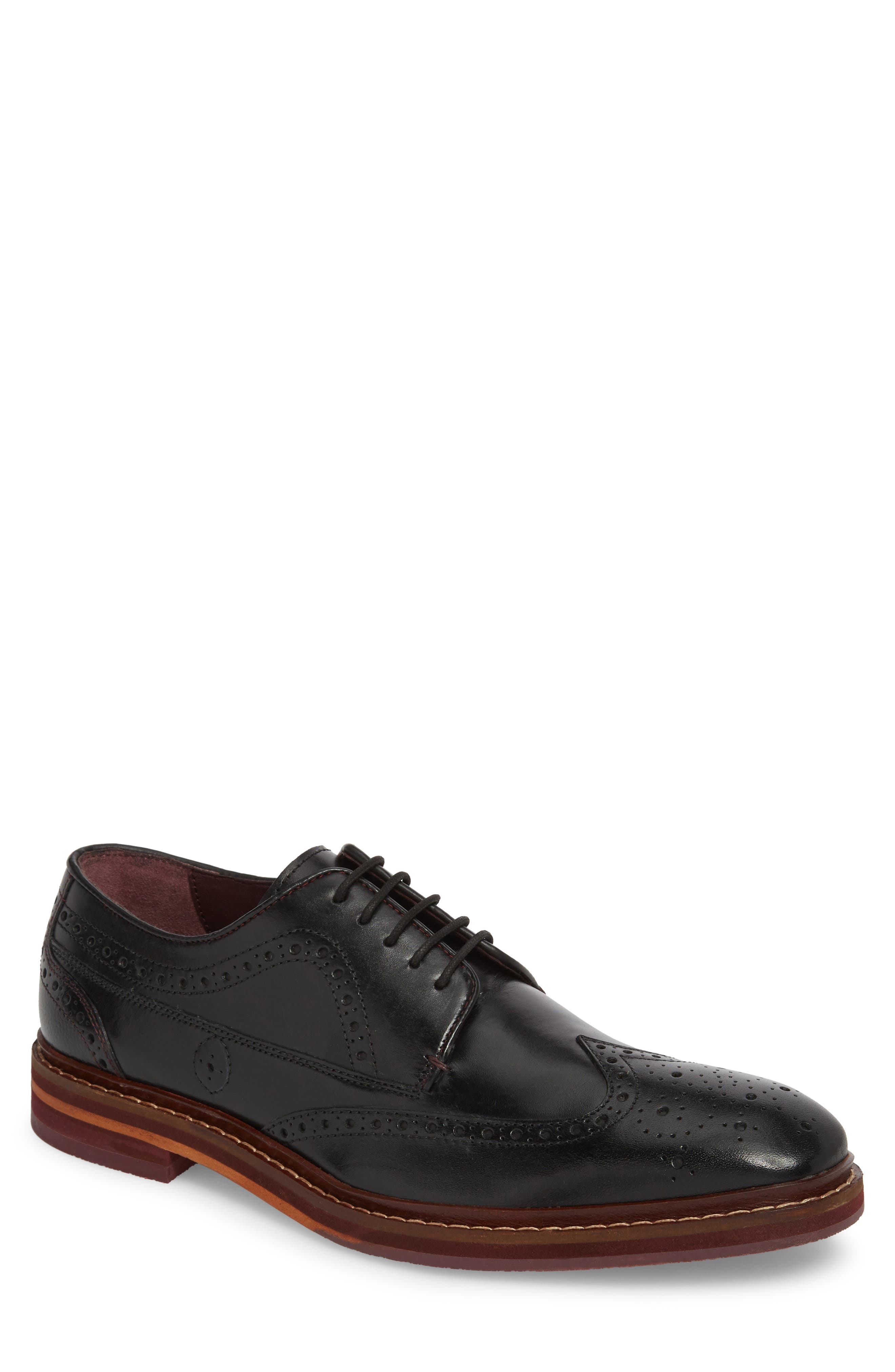 Gourdon Wingtip Derby,                         Main,                         color, Black Leather