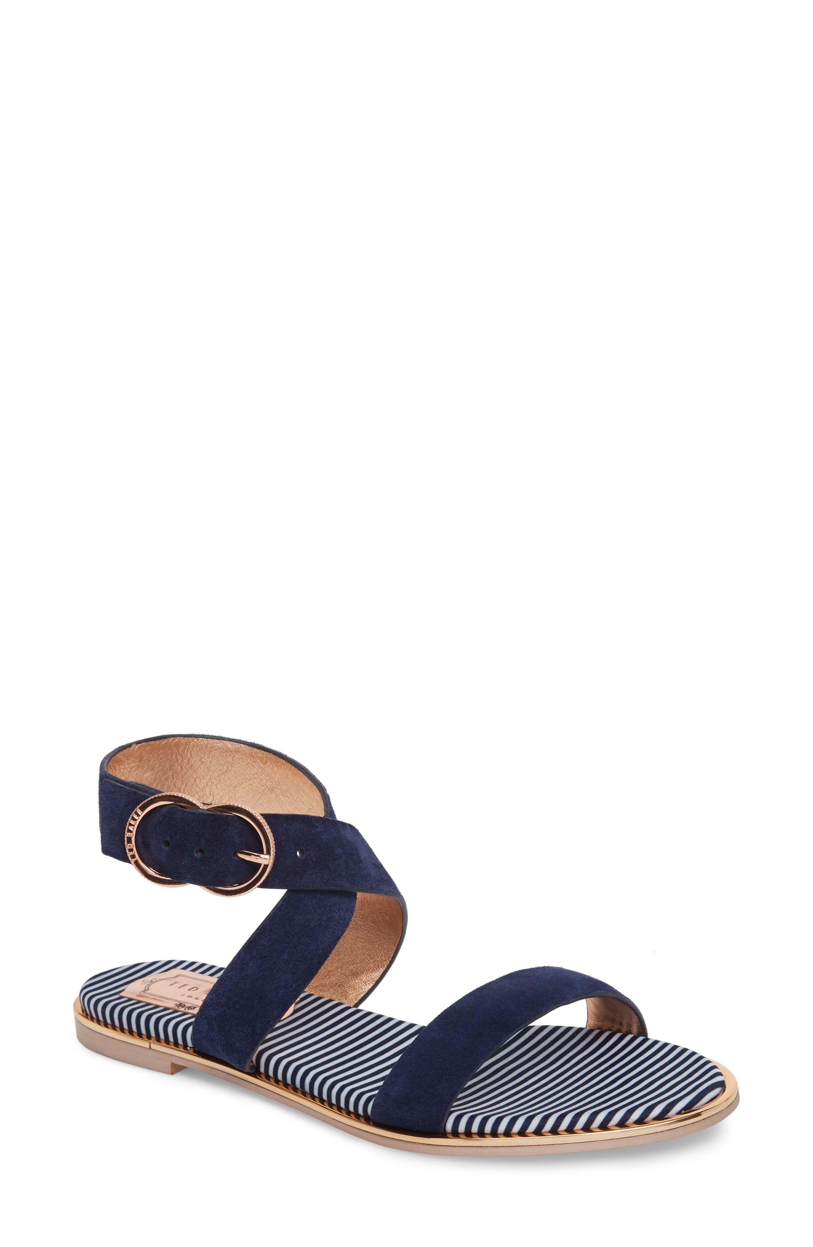 Qeredas Sandal,                         Main,                         color, Navy Suede