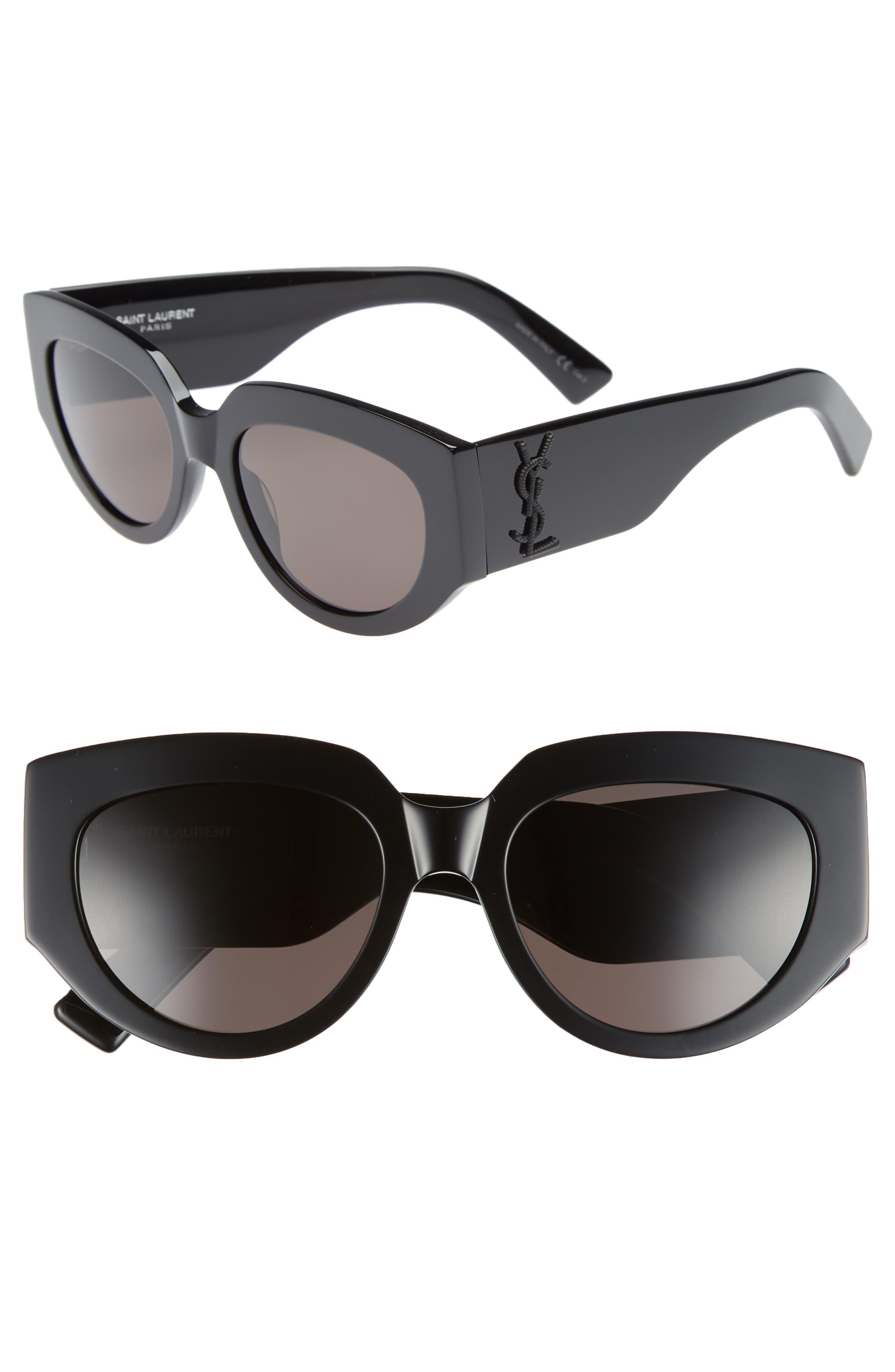 Rope 54mm Cat Eye Sunglasses,                             Main thumbnail 1, color,                             Black/ Black