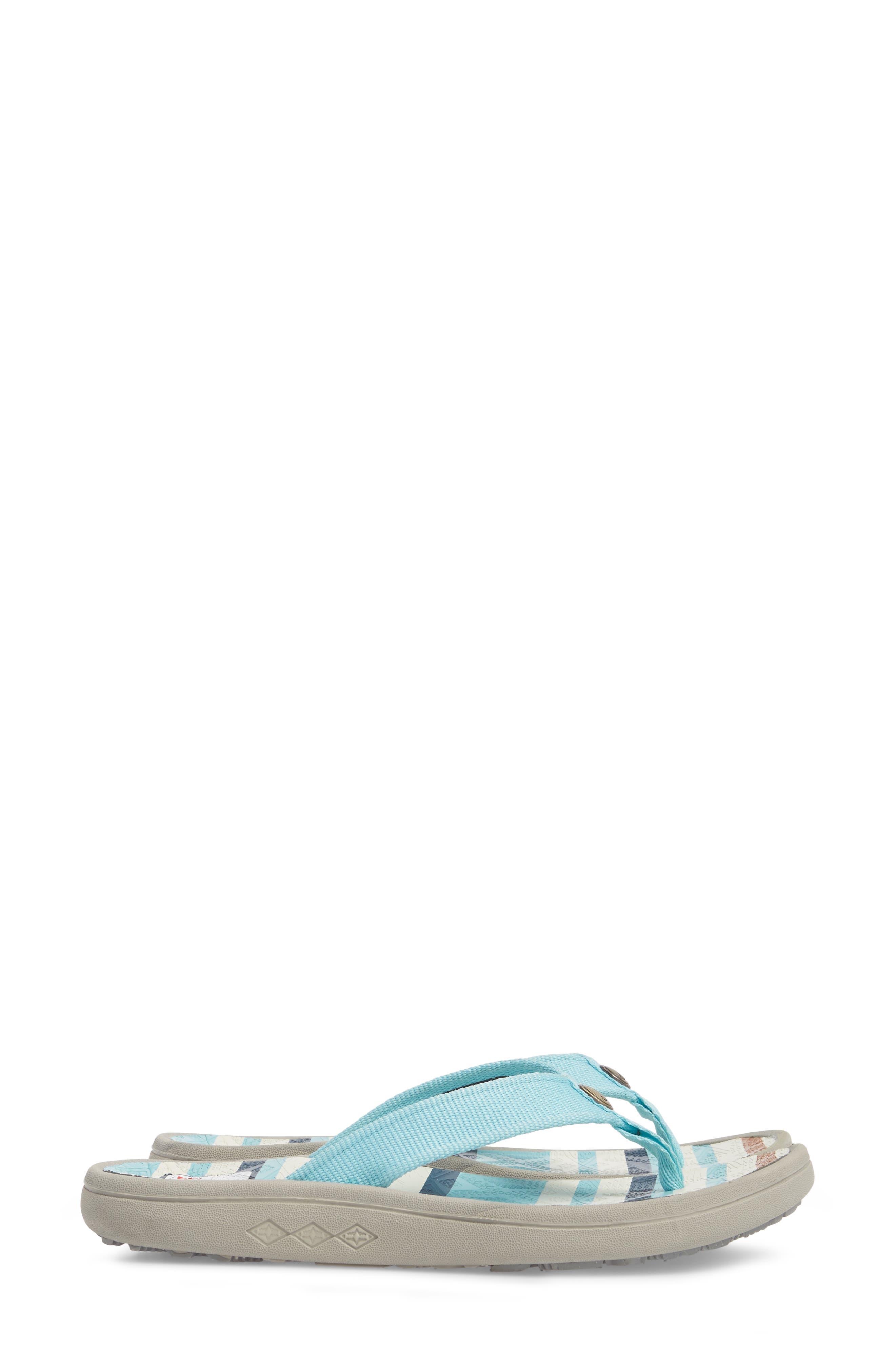 Pendleton Surf Stripe Flip Flop,                             Alternate thumbnail 3, color,                             Aqua