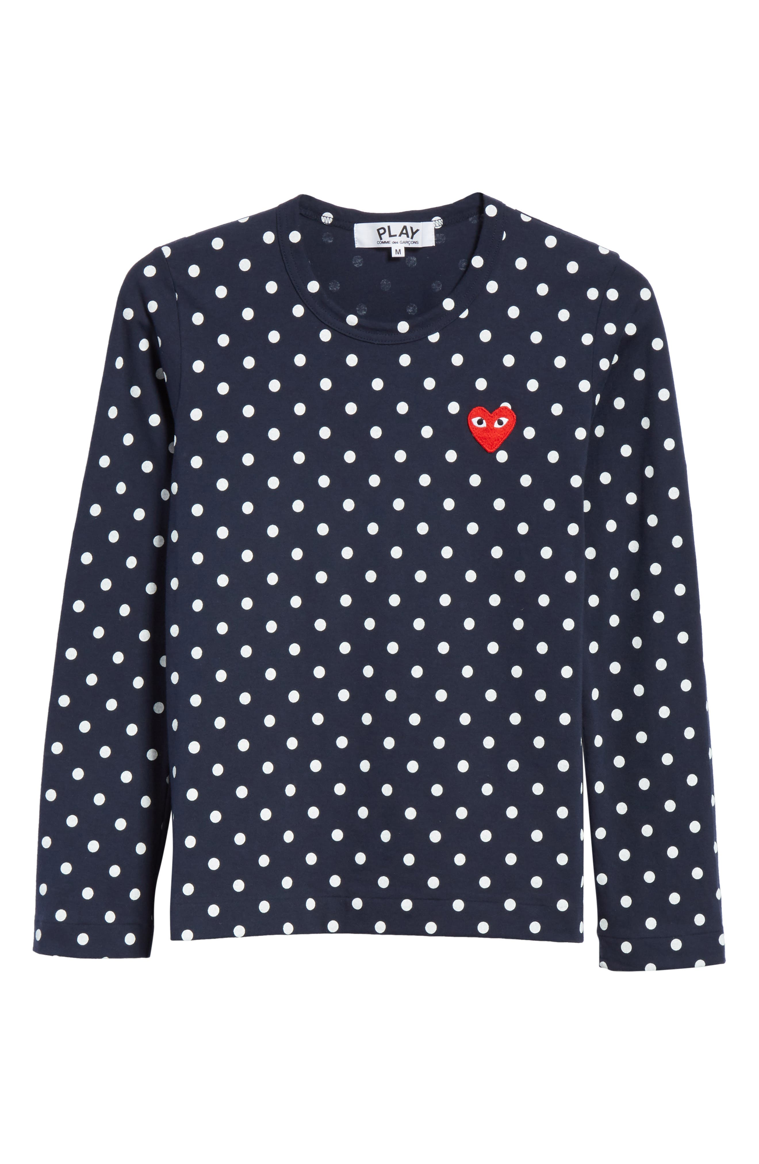 Comme des Garçons PLAY Red Heart Polka Dot Tee,                             Alternate thumbnail 6, color,                             Navy/ White