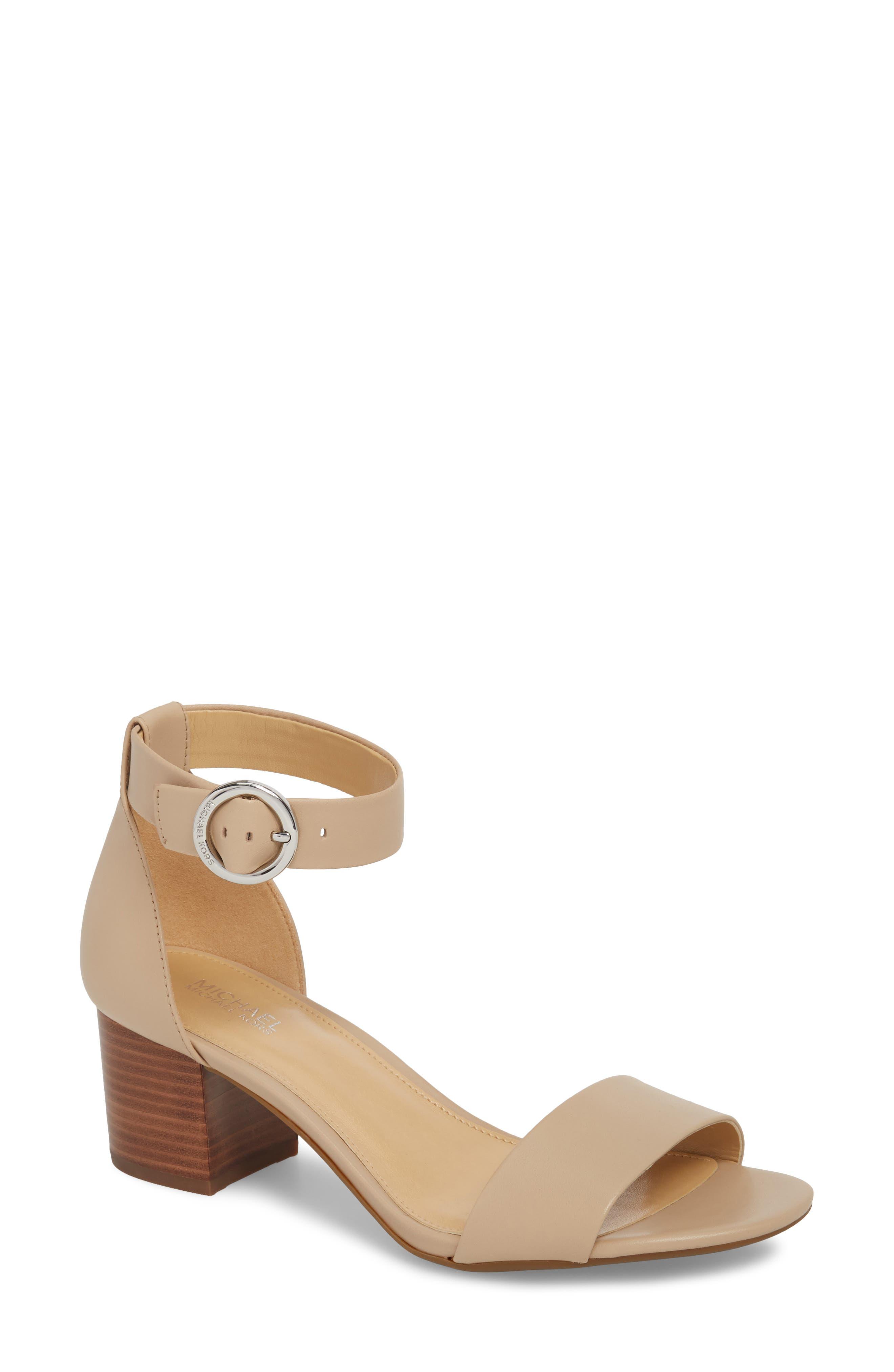 Lena Block Heel Sandal,                         Main,                         color, Bisque