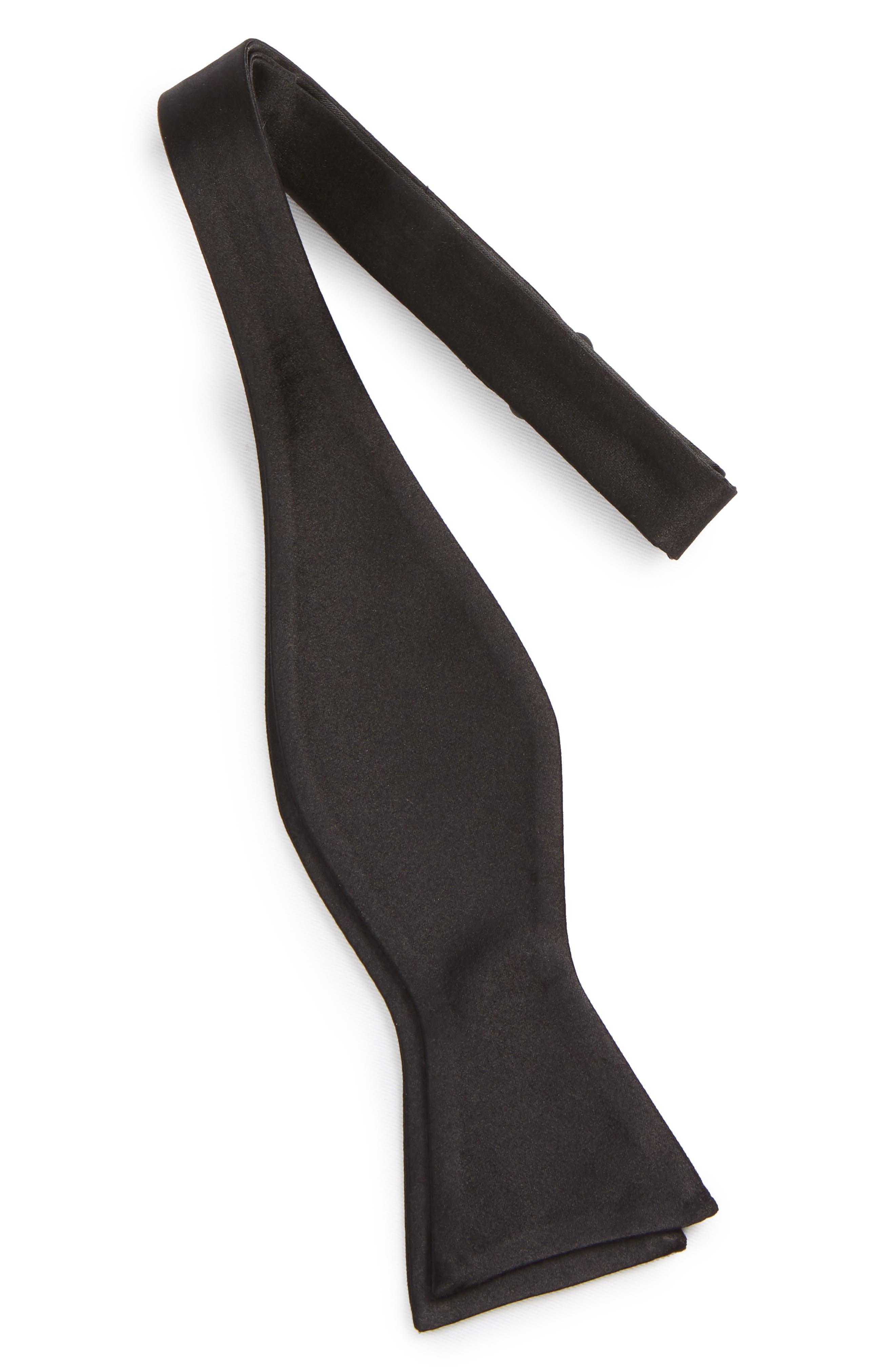 Nordtrom Men's Shop Silk Bow Tie,                             Alternate thumbnail 3, color,                             Black
