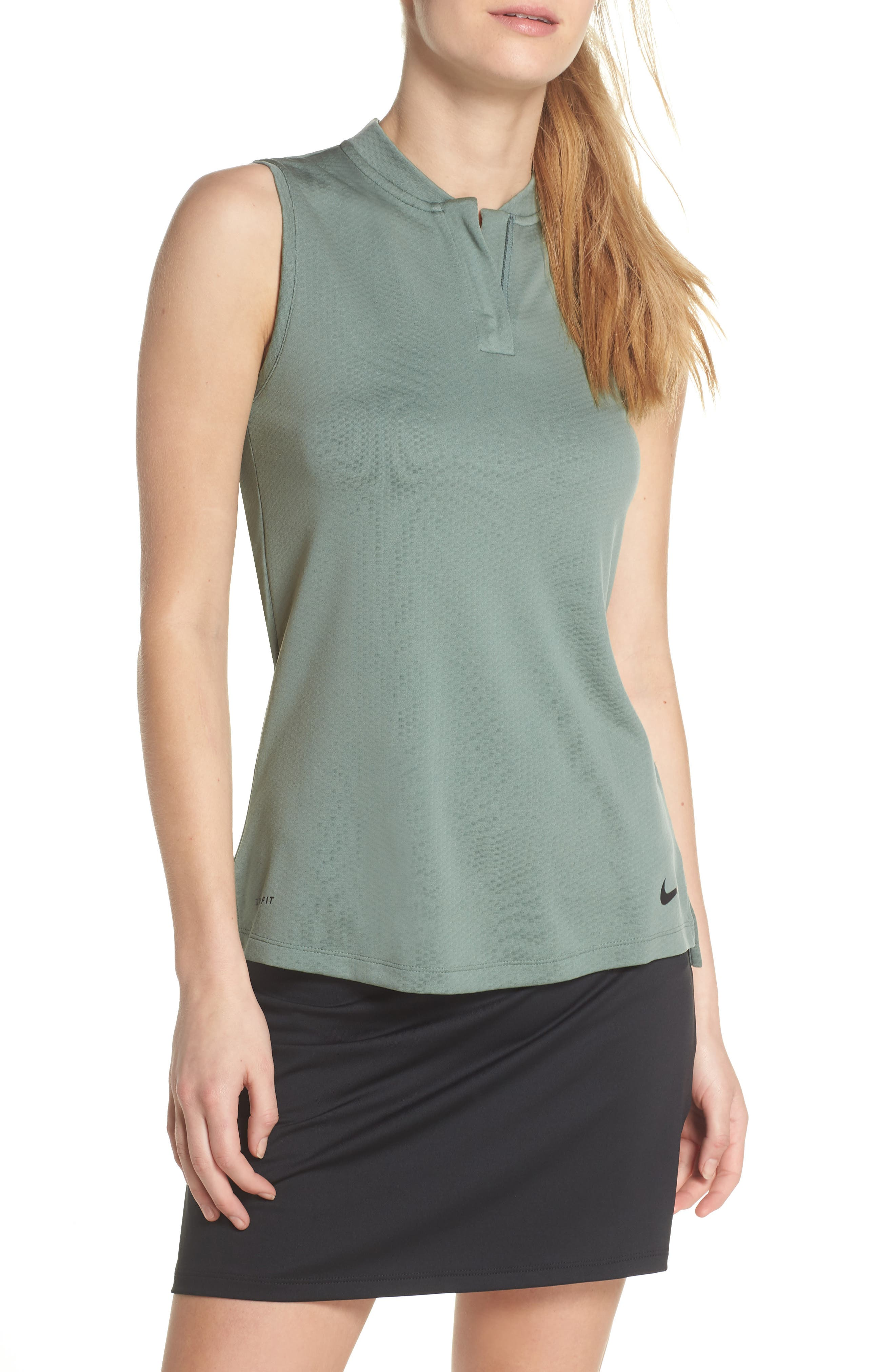 Dry Golf Polo,                         Main,                         color, Clay Green/ Flint Silver