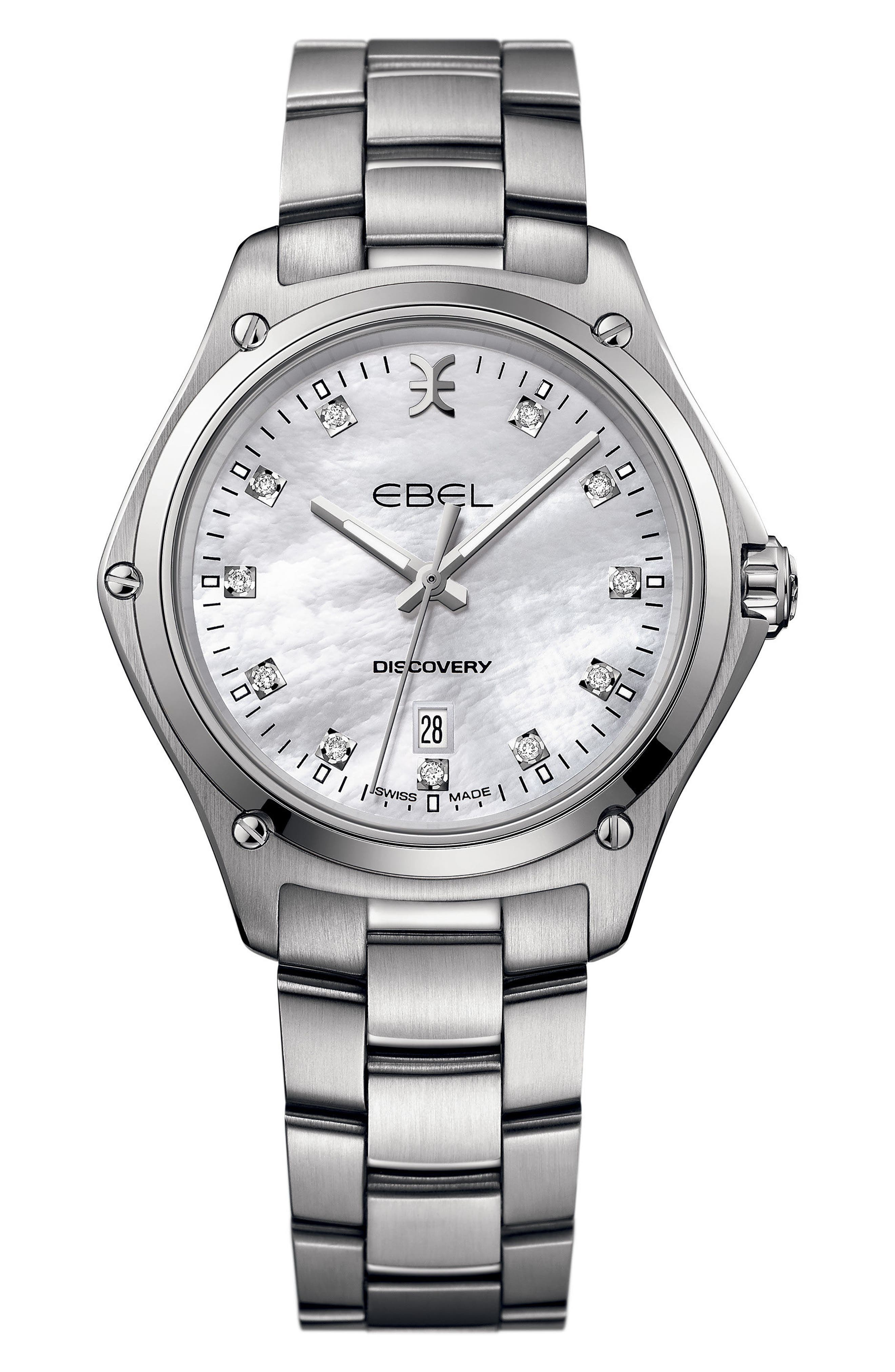 Discovery Diamond Bracelet Watch, 33mm,                             Main thumbnail 1, color,                             Silver/ Mop/ Silver