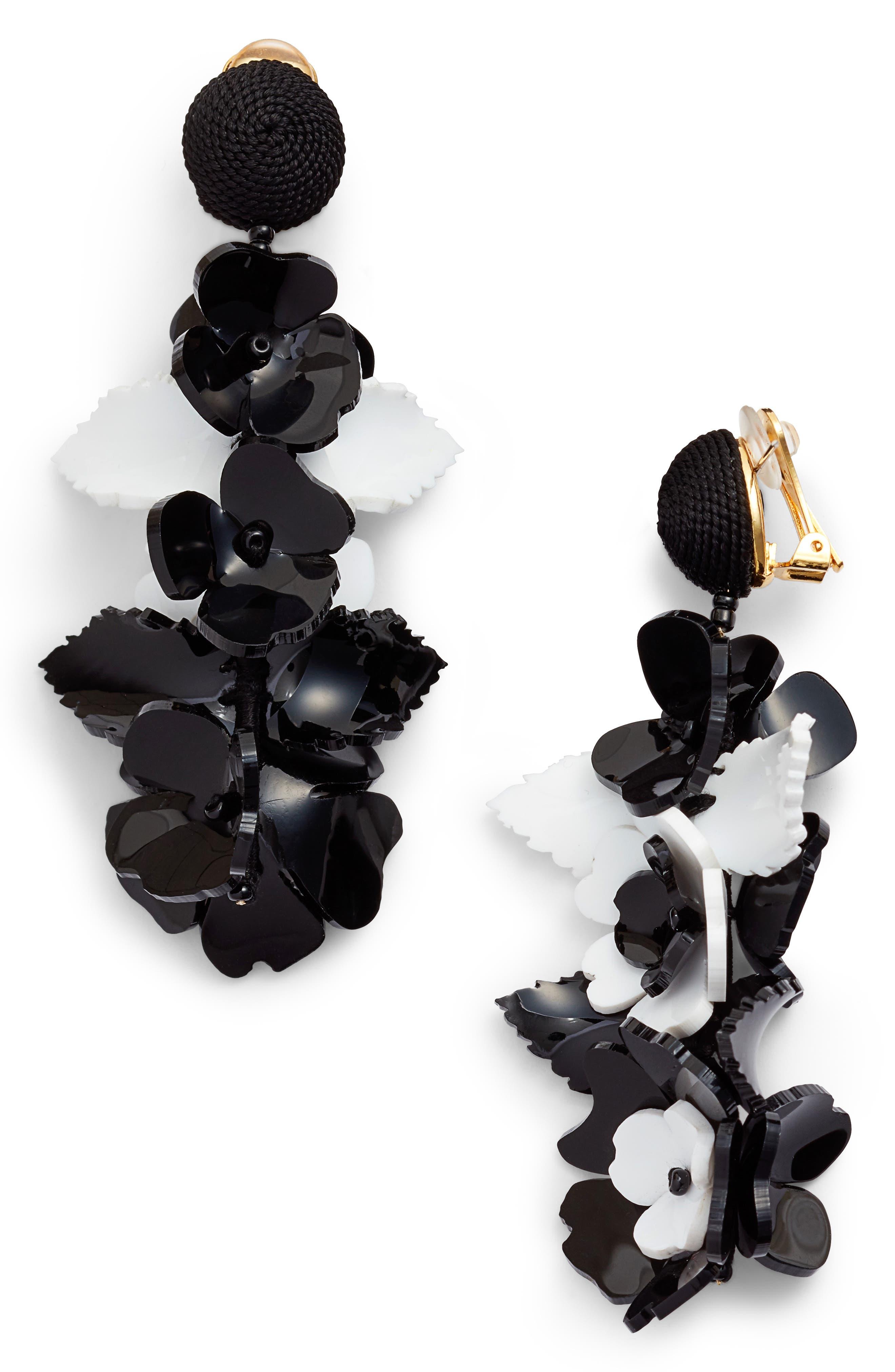 Climbing Flower Drop Earrings, Black/ White