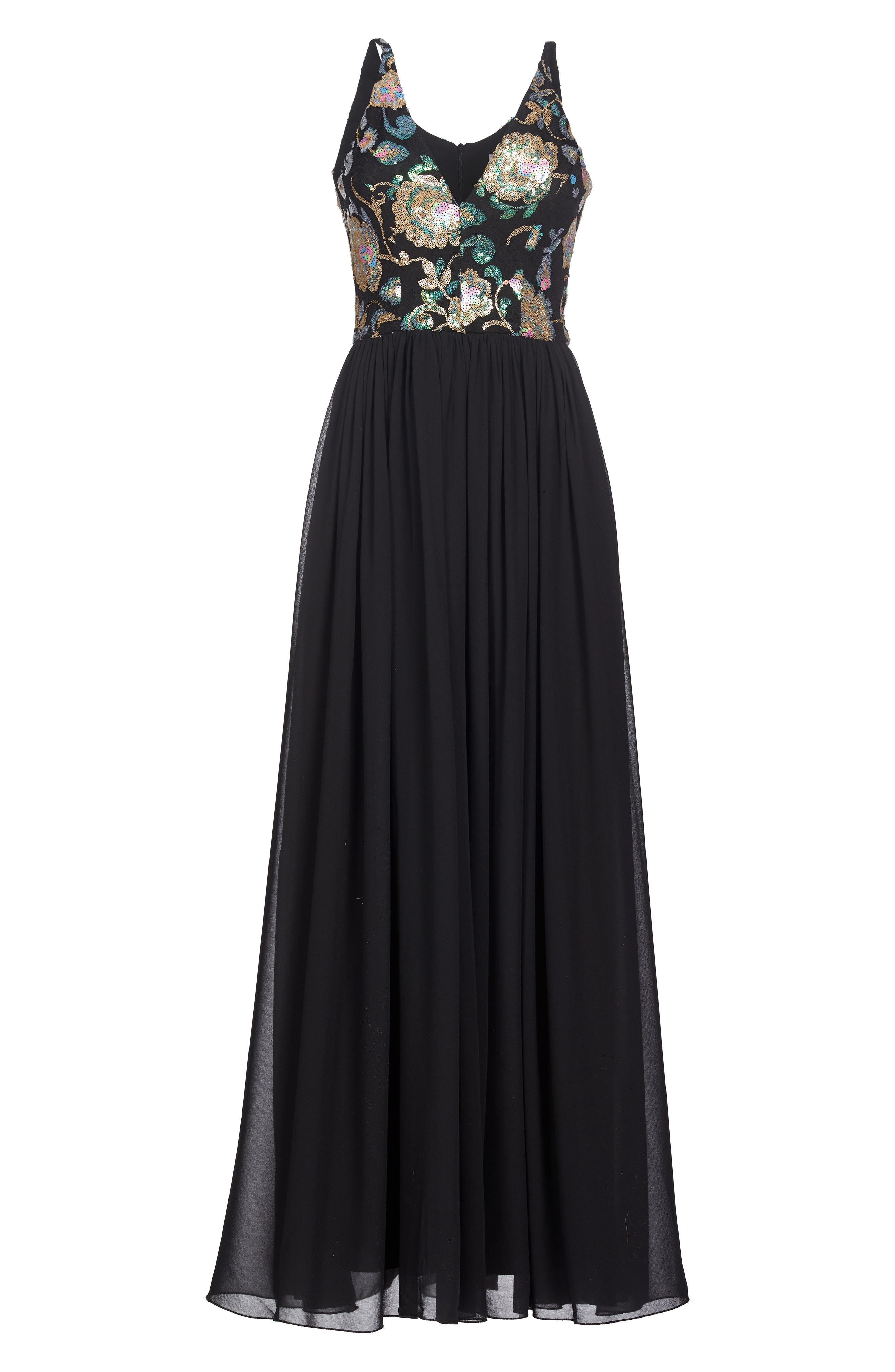 Adriana Sequin Bodice Gown,                             Alternate thumbnail 5, color,                             Black/ Iridescent Floral