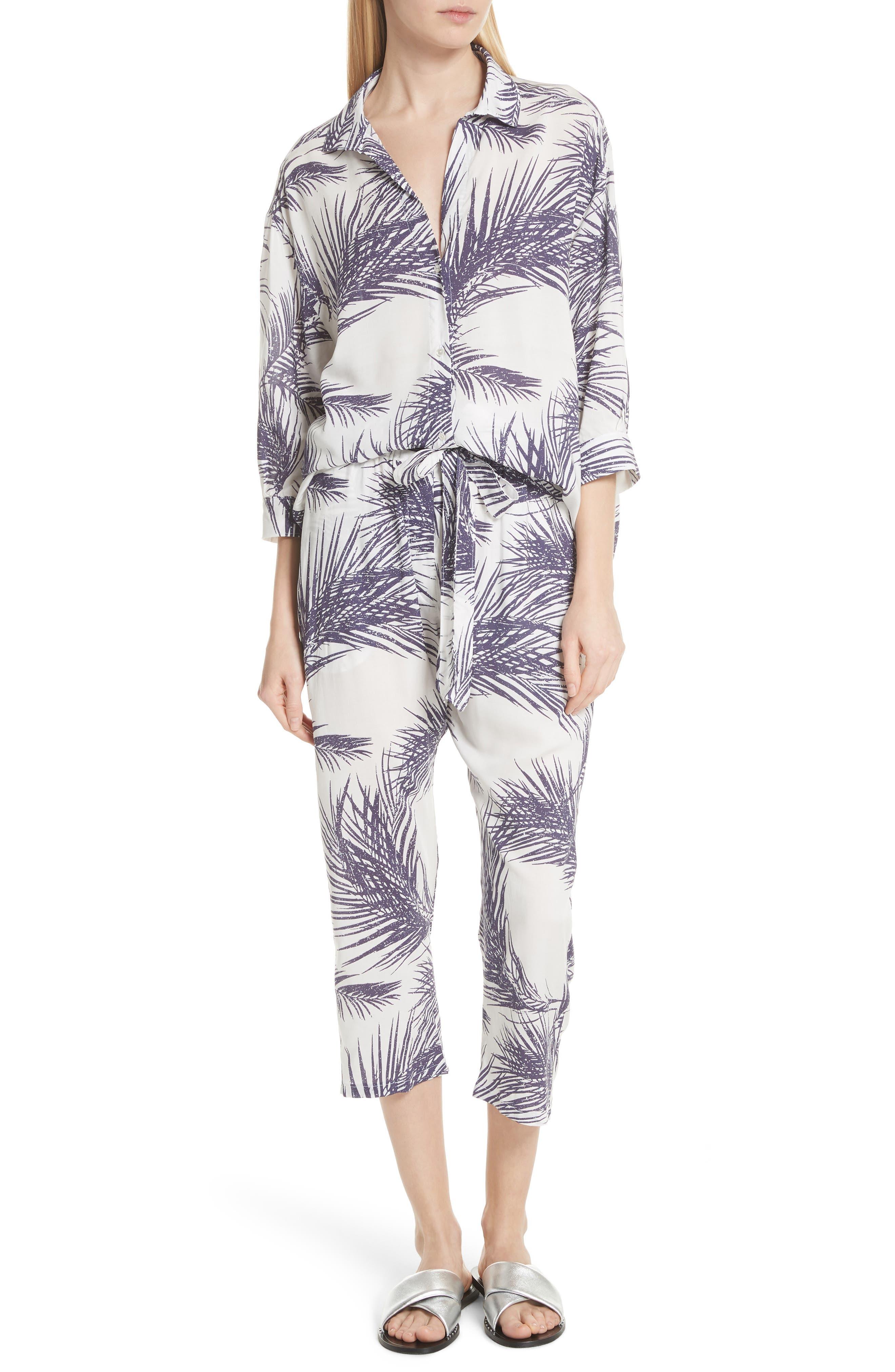 Palm Print Island Shirt,                             Alternate thumbnail 2, color,                             White/ Dark Purple