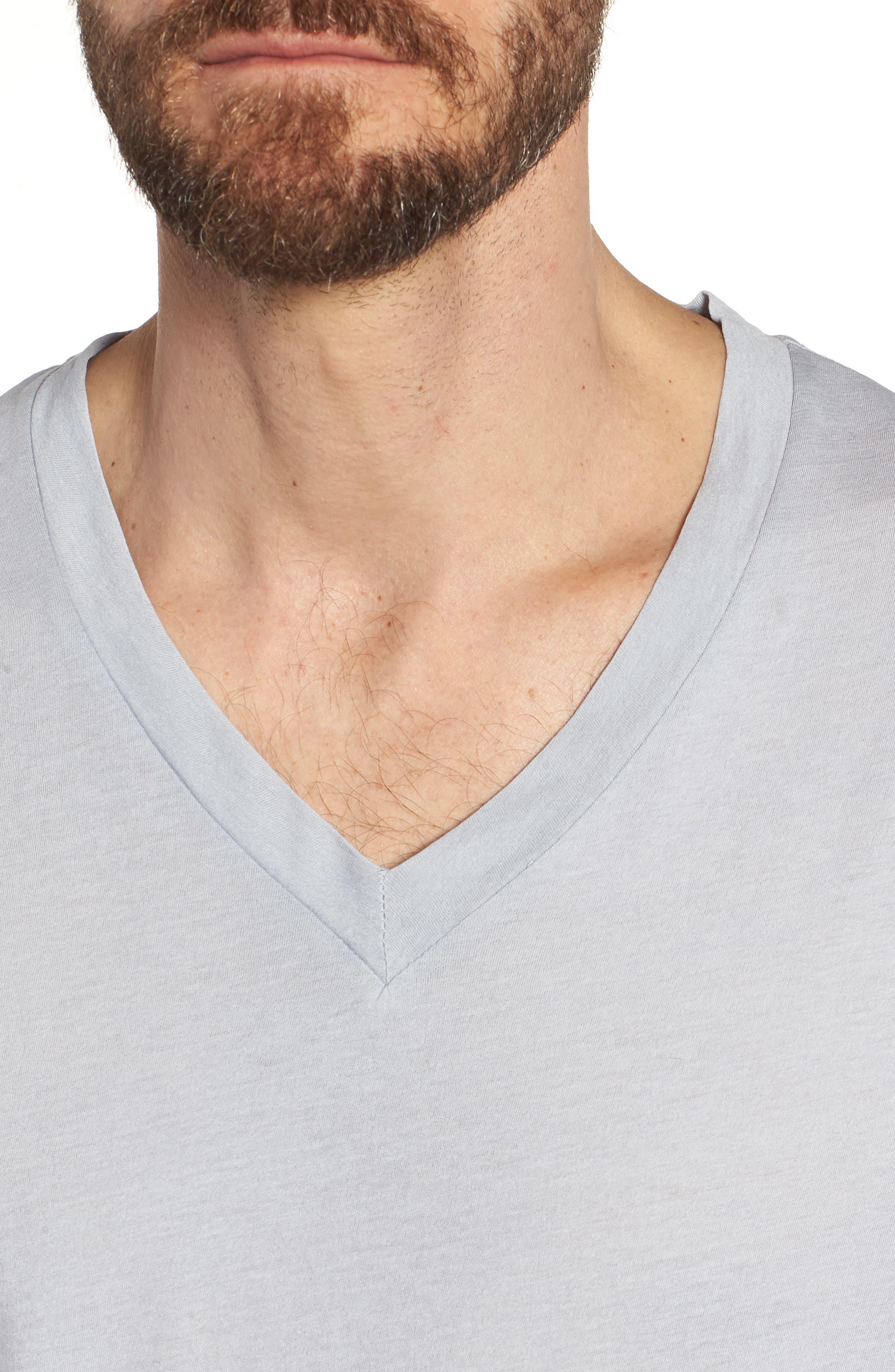 'Clear Jersey' Mélange V-Neck T-Shirt,                             Alternate thumbnail 4, color,                             Blue