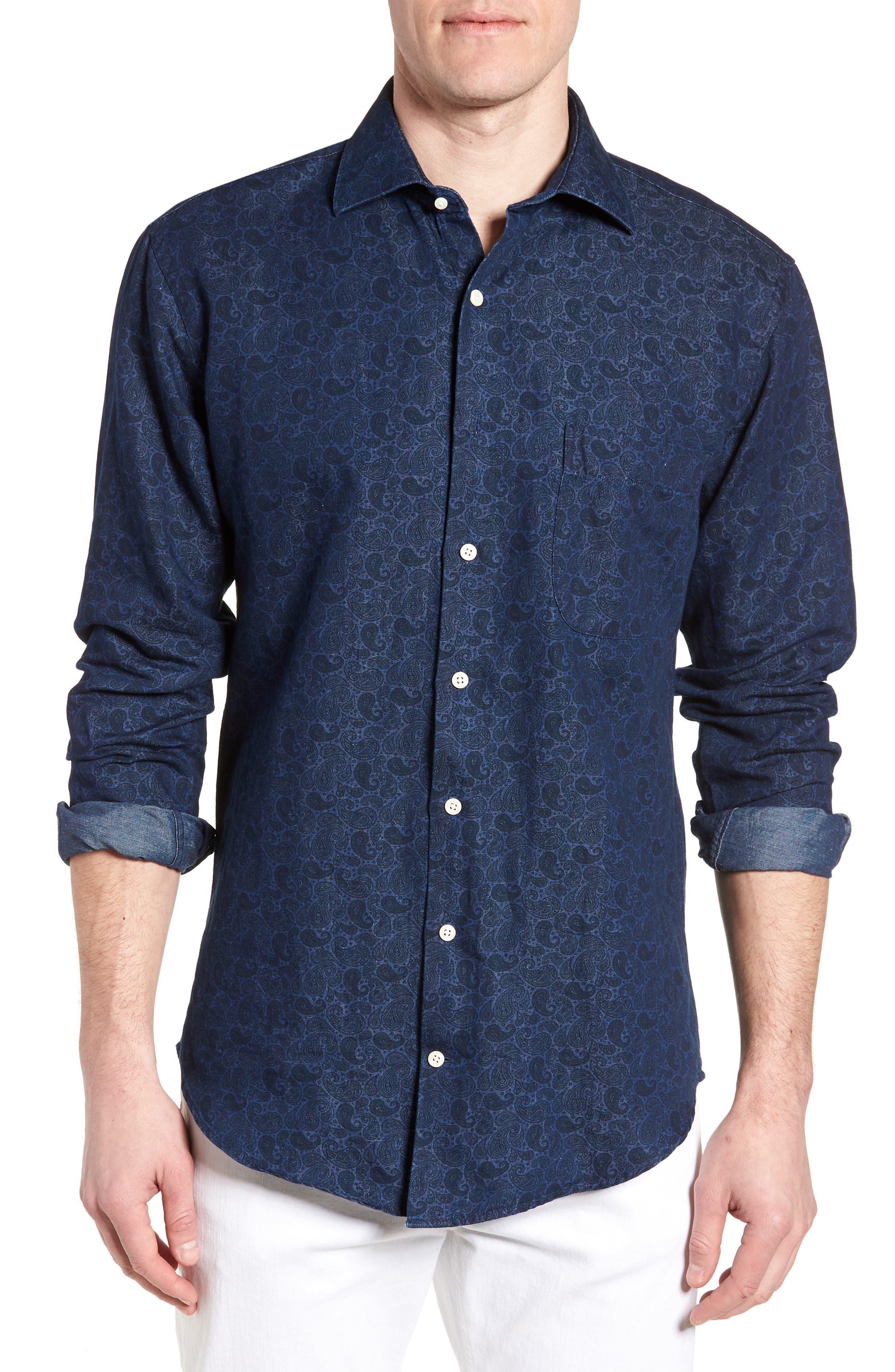 Crown Cool Paisley Denim Sport Shirt,                         Main,                         color, Yankee Blue