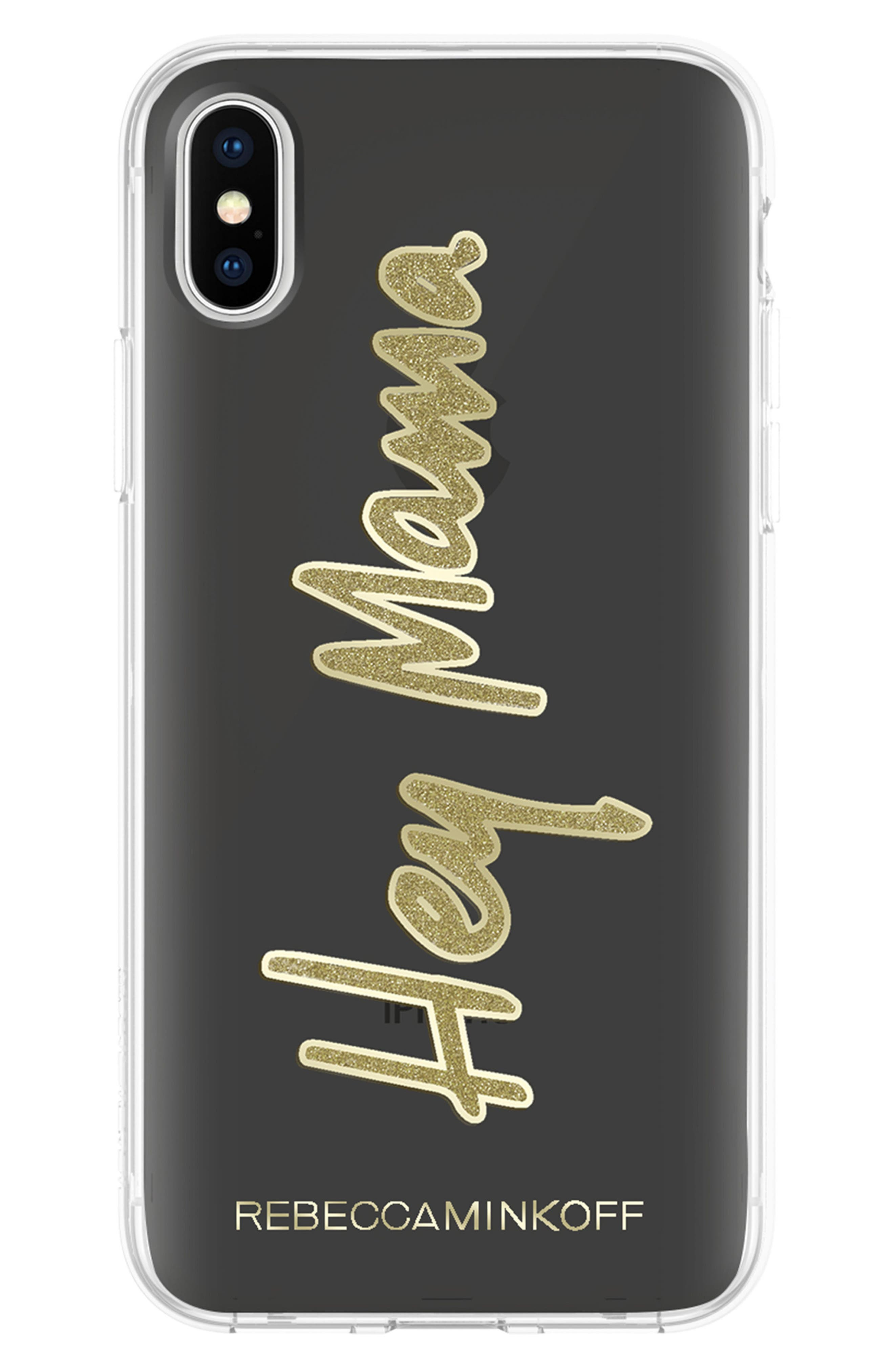 Hey Mama iPhone X Case,                             Main thumbnail 1, color,                             Black/ Gold Glitter