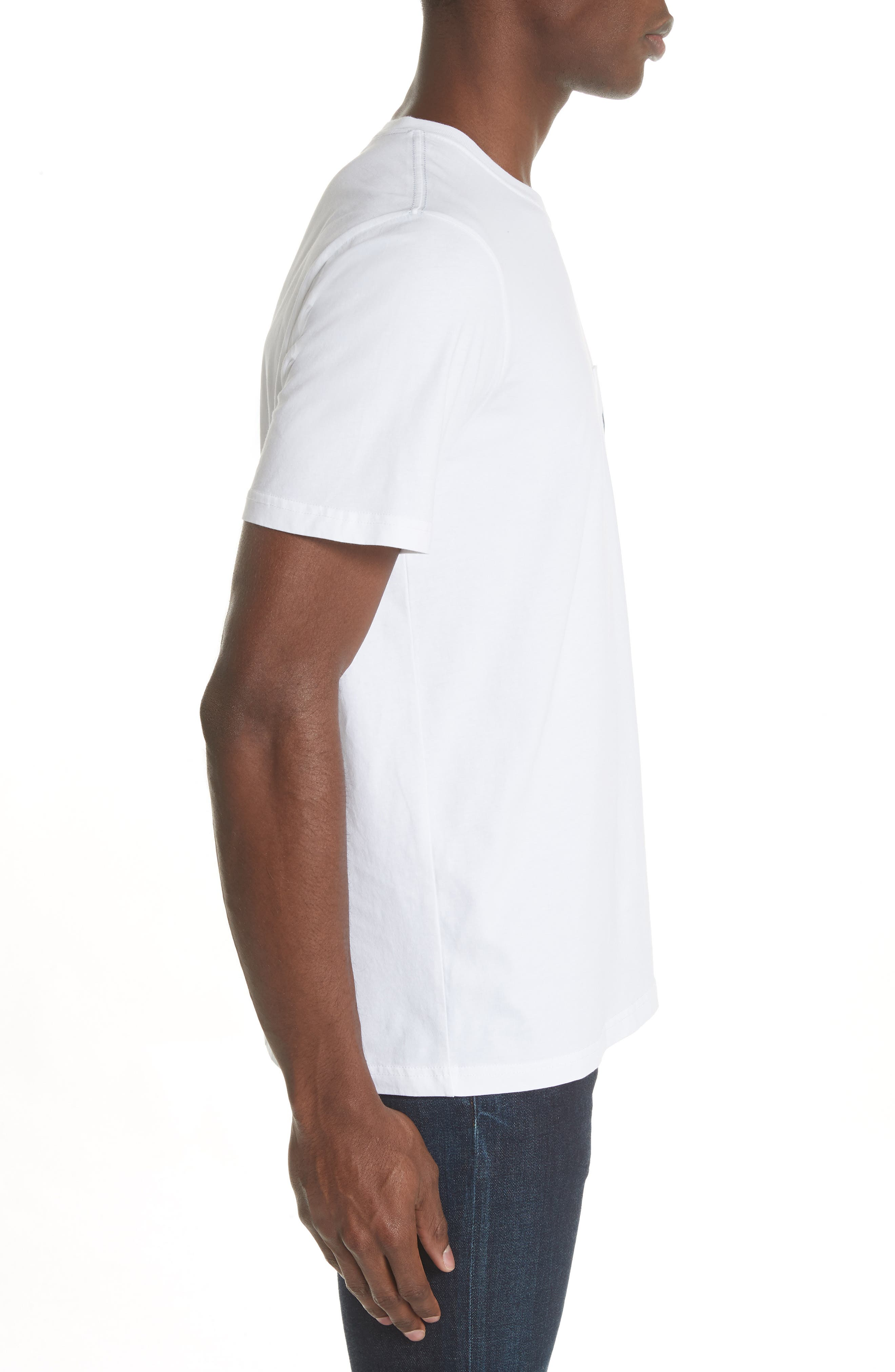 Dino Print Pocket T-Shirt,                             Alternate thumbnail 3, color,                             White