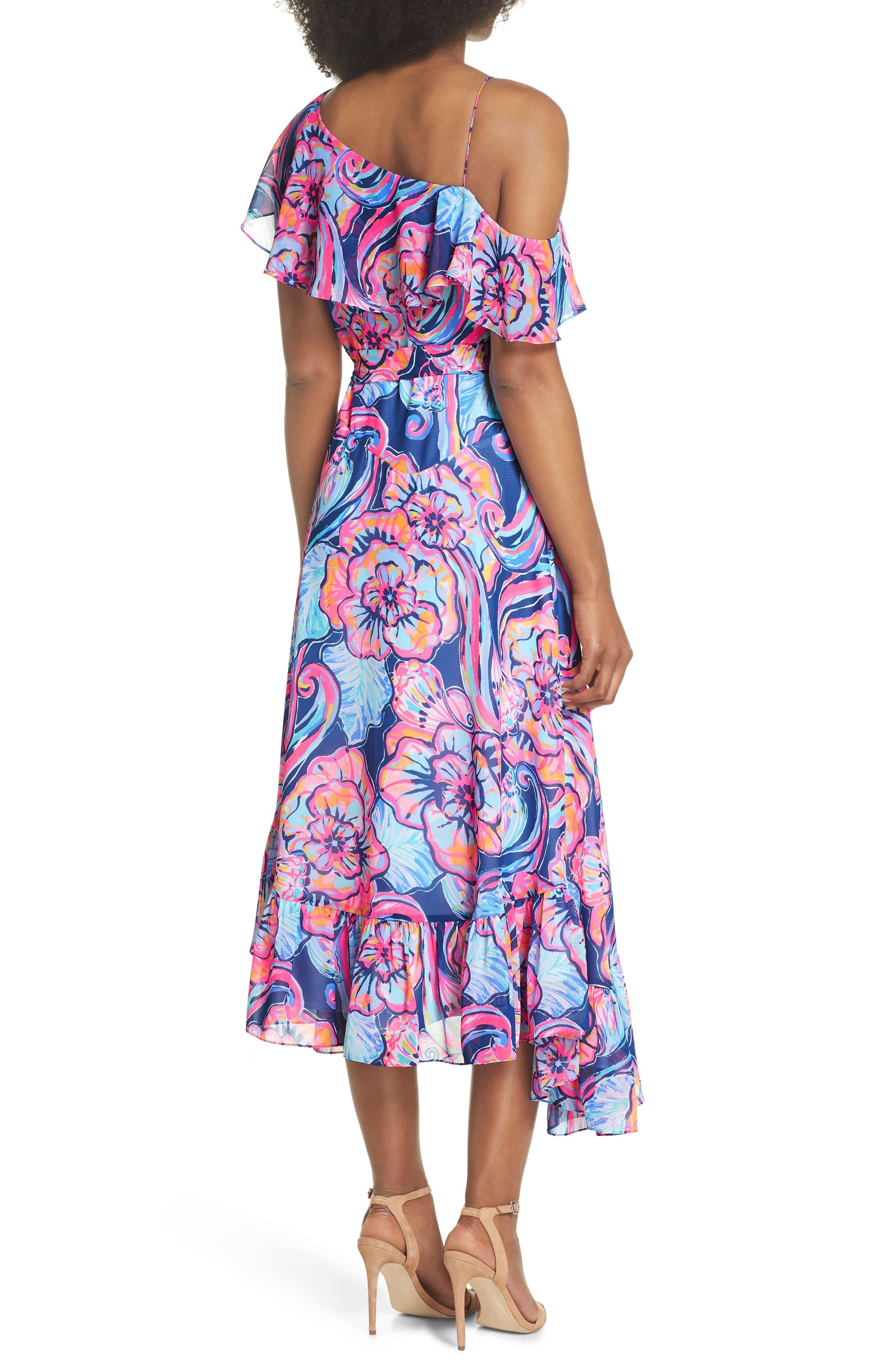 Marianna Asymmetric Midi Wrap Dress,                             Alternate thumbnail 2, color,                             Nautical Navy