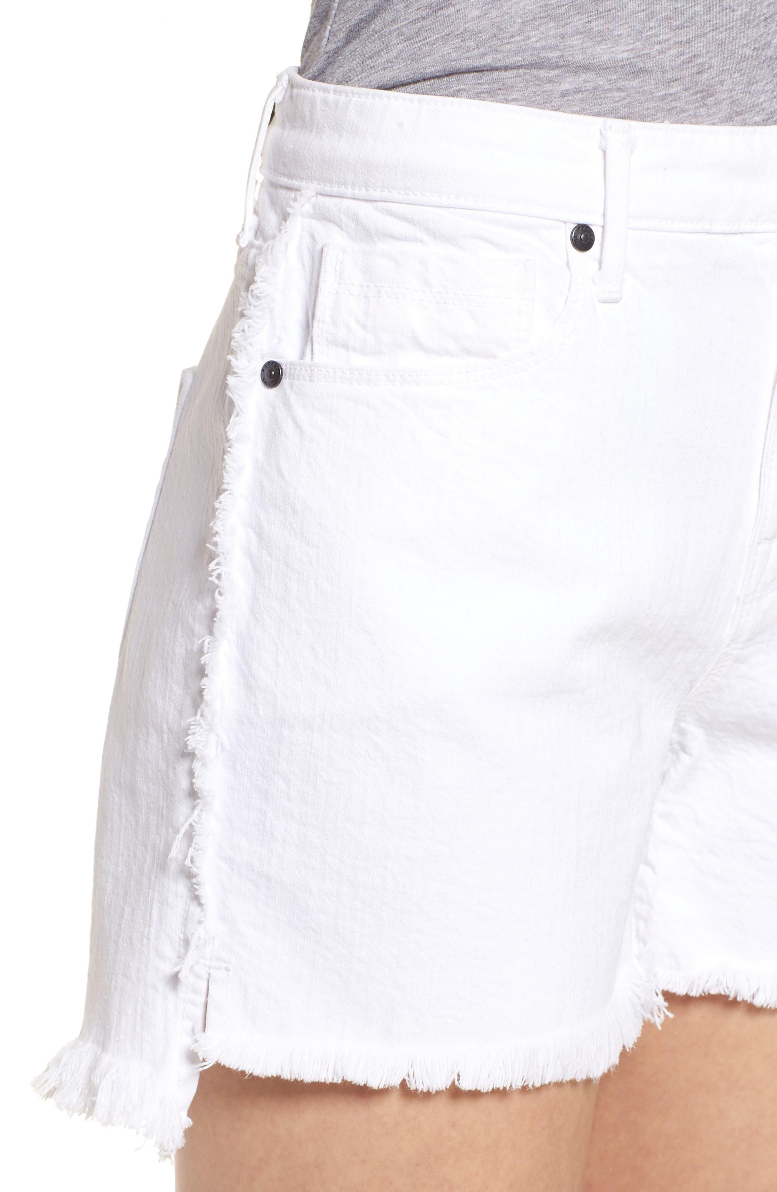Step Hem Frayed Denim Shorts,                             Alternate thumbnail 4, color,                             Blanc