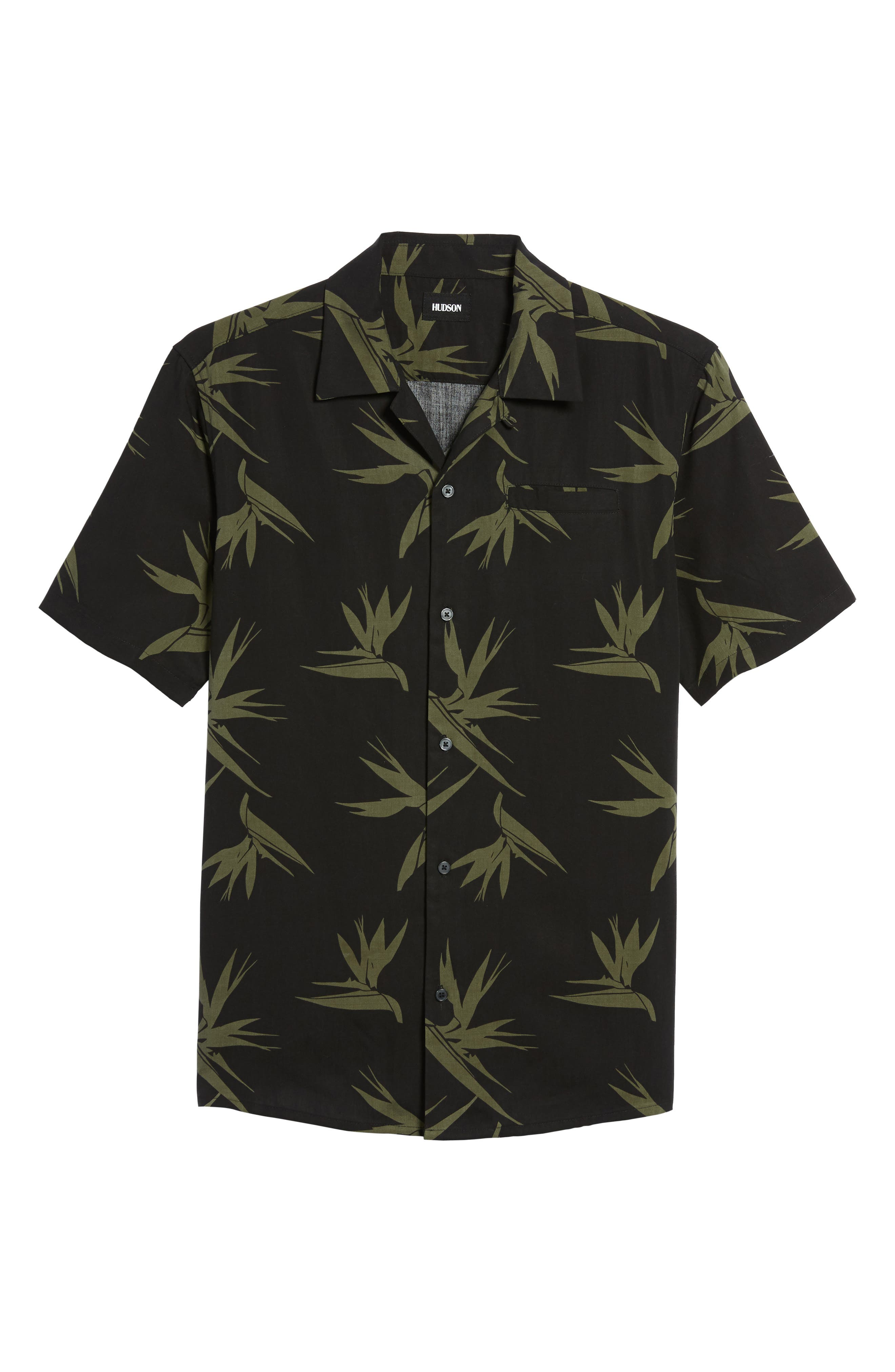 Hudson Regular Fit Print Short Sleeve Sport Shirt,                             Alternate thumbnail 6, color,                             Birds Of Paradise Black