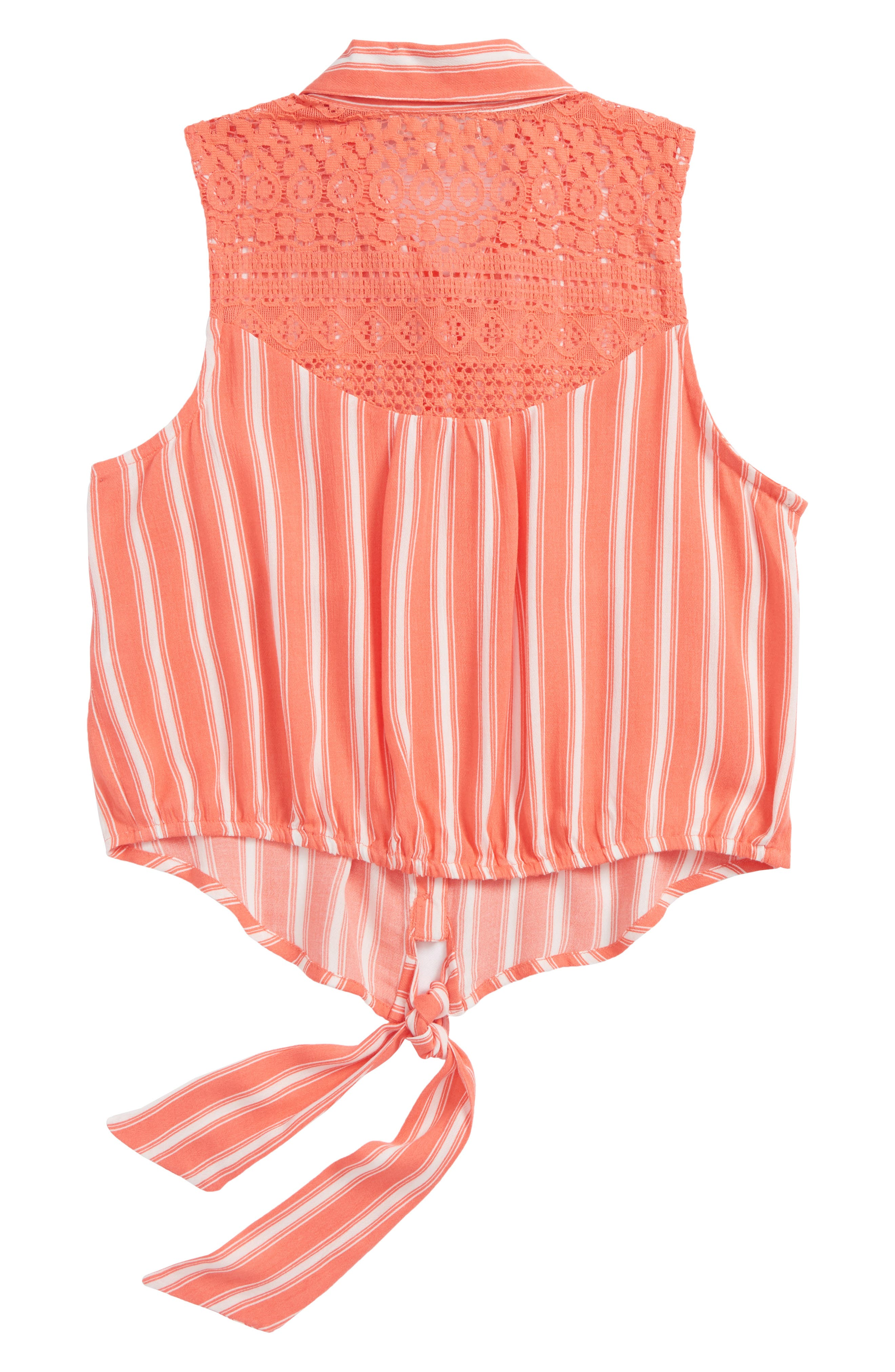 Stripe Tie Front Top,                             Alternate thumbnail 2, color,                             Coral/ Ivory