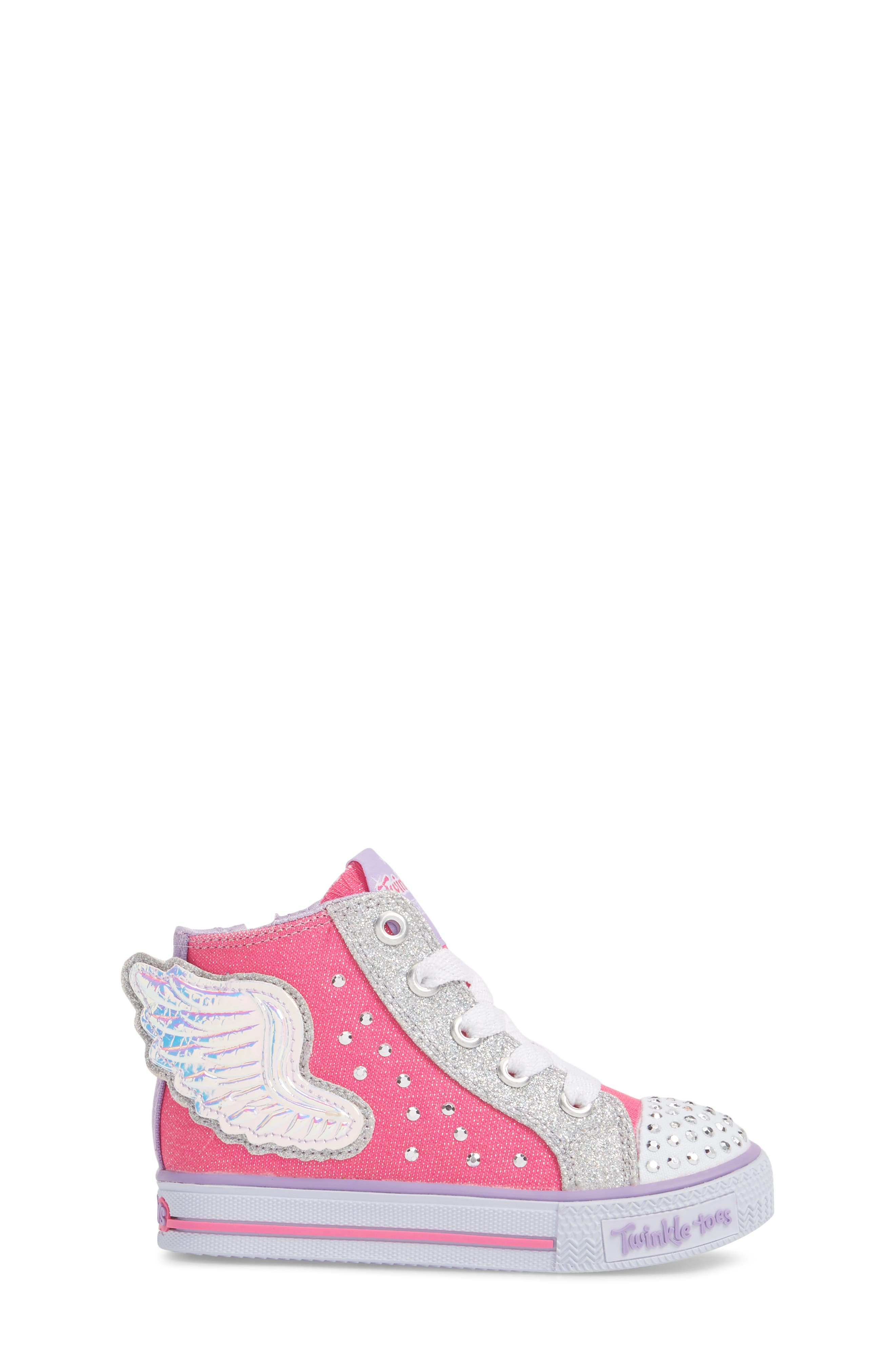 Twinkle Toes Shuffles Fooling Flutters Light-Up High Top Sneaker,                             Alternate thumbnail 3, color,                             Hot Pink/ Silver
