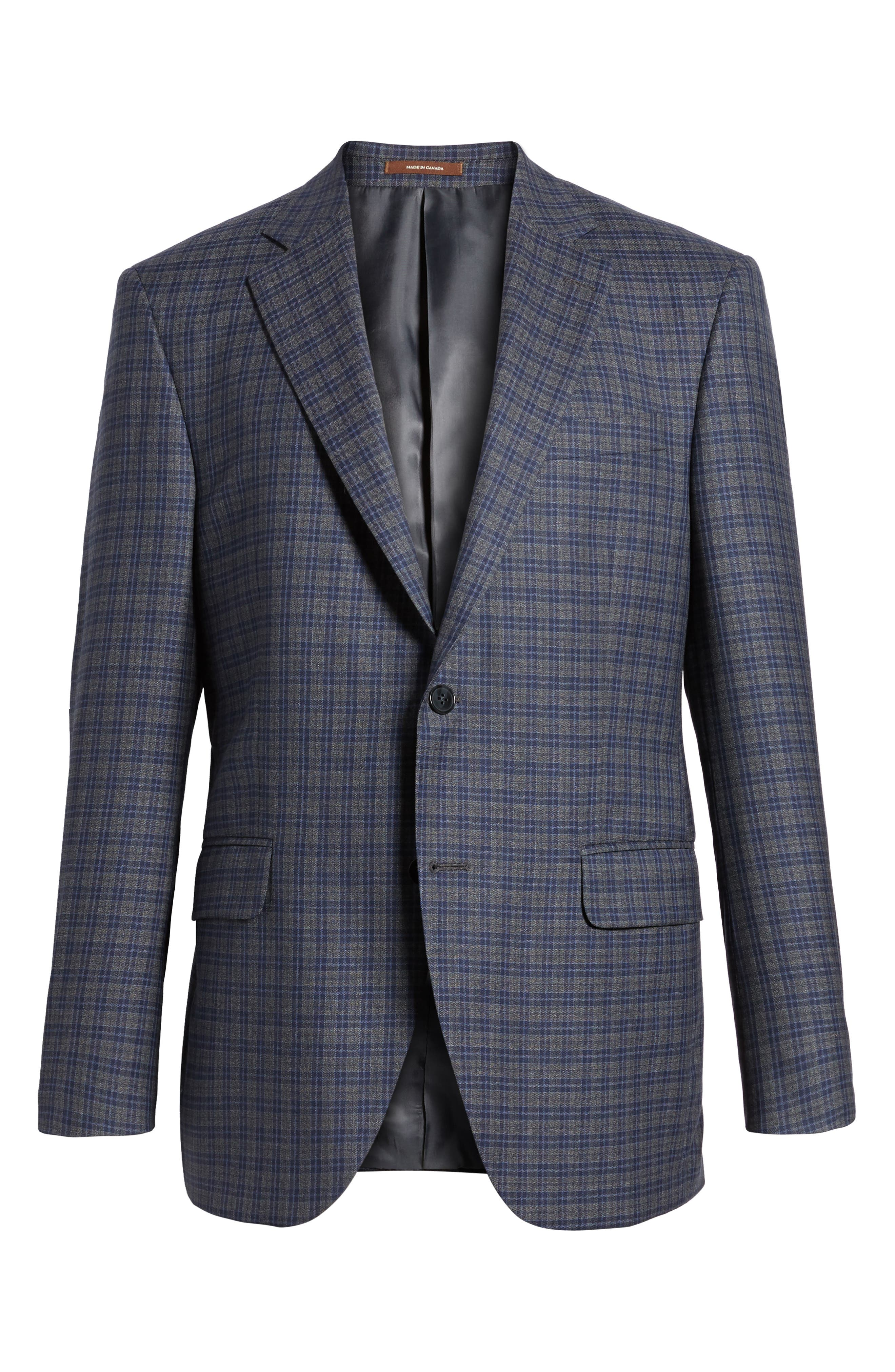Classic Fit Check Wool Sport Coat,                             Alternate thumbnail 6, color,                             Grey/Blue
