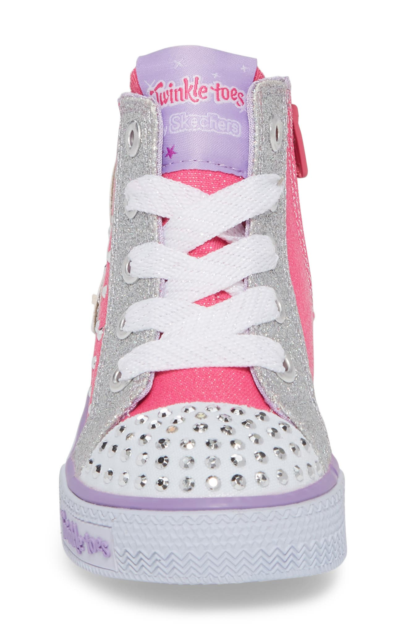 Twinkle Toes Shuffles Fooling Flutters Light-Up High Top Sneaker,                             Alternate thumbnail 4, color,                             Hot Pink/ Silver