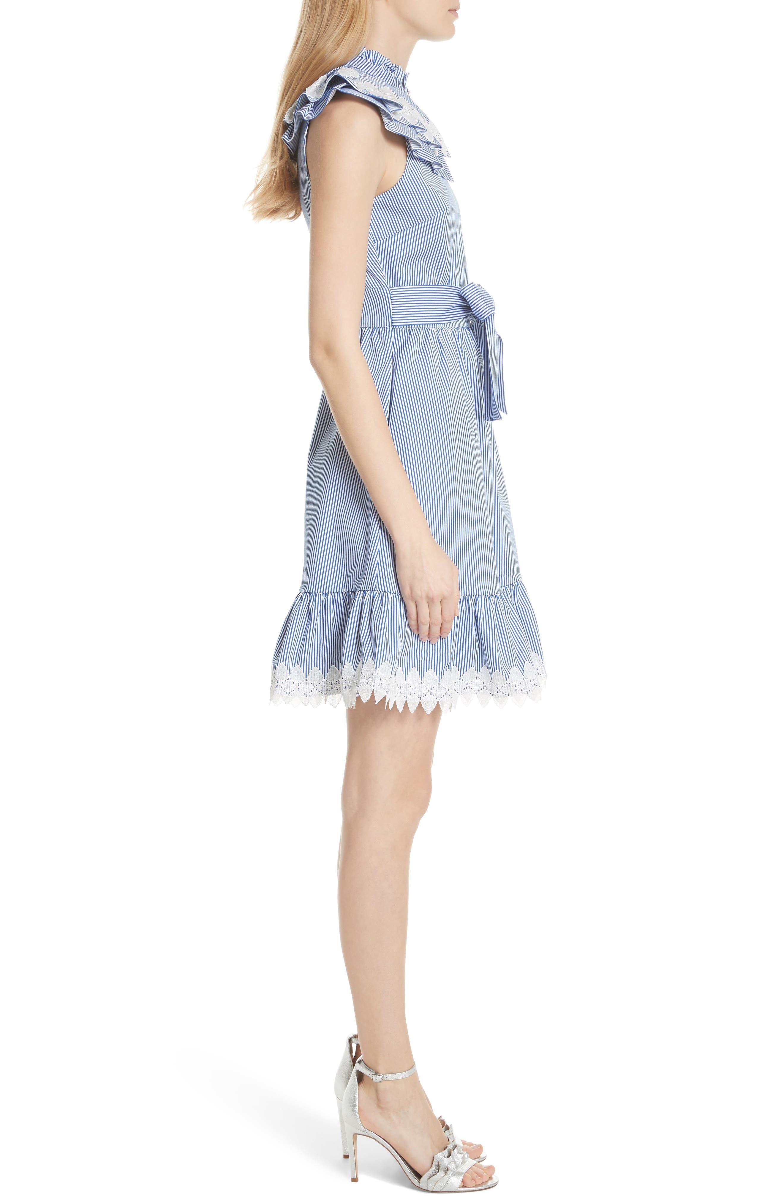 Stripe Frill Bib Fit & Flare Dress,                             Alternate thumbnail 3, color,                             White