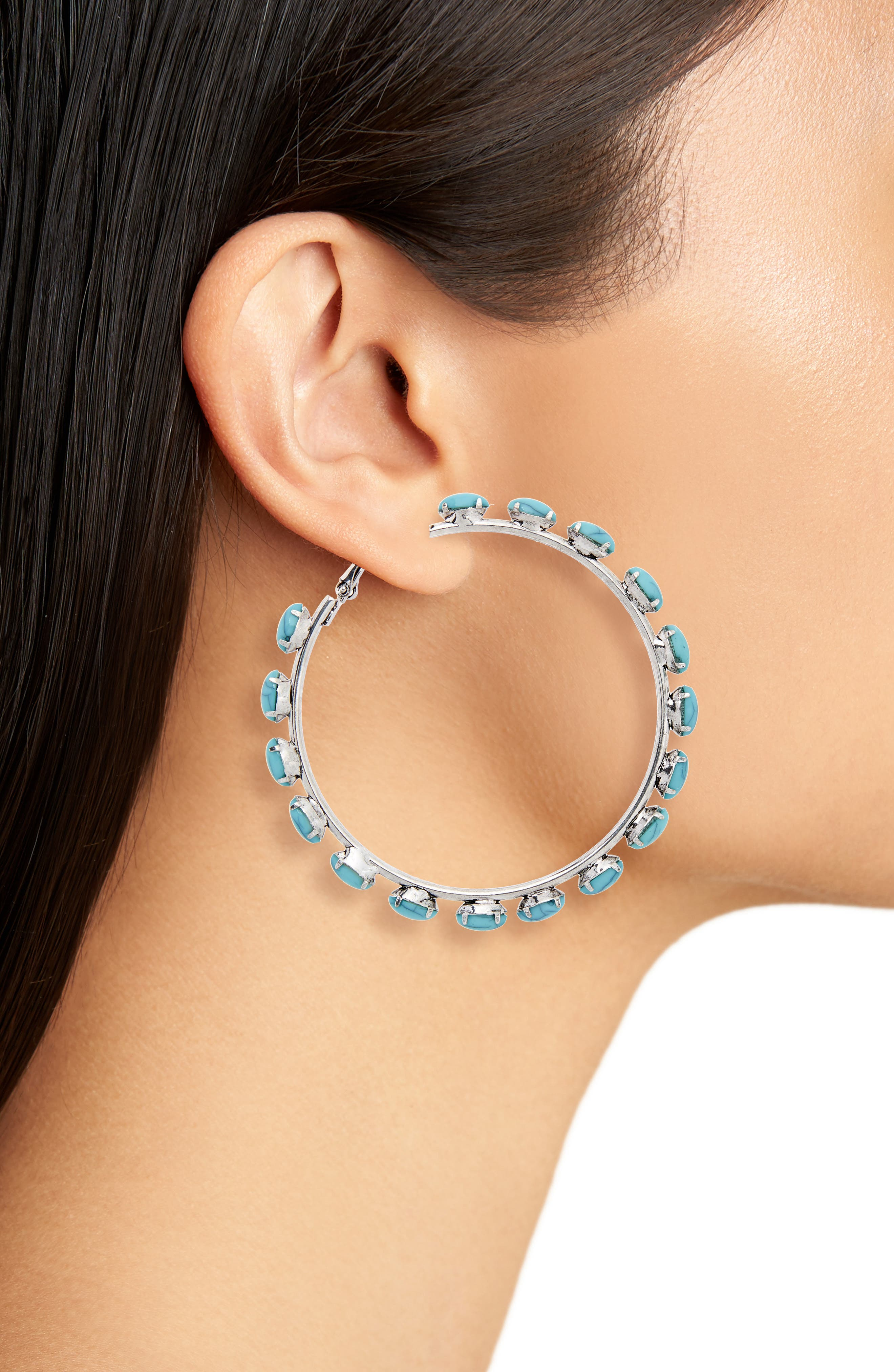 Bead Edge Hoop Earrings,                             Alternate thumbnail 2, color,                             Silver/ Turquoise