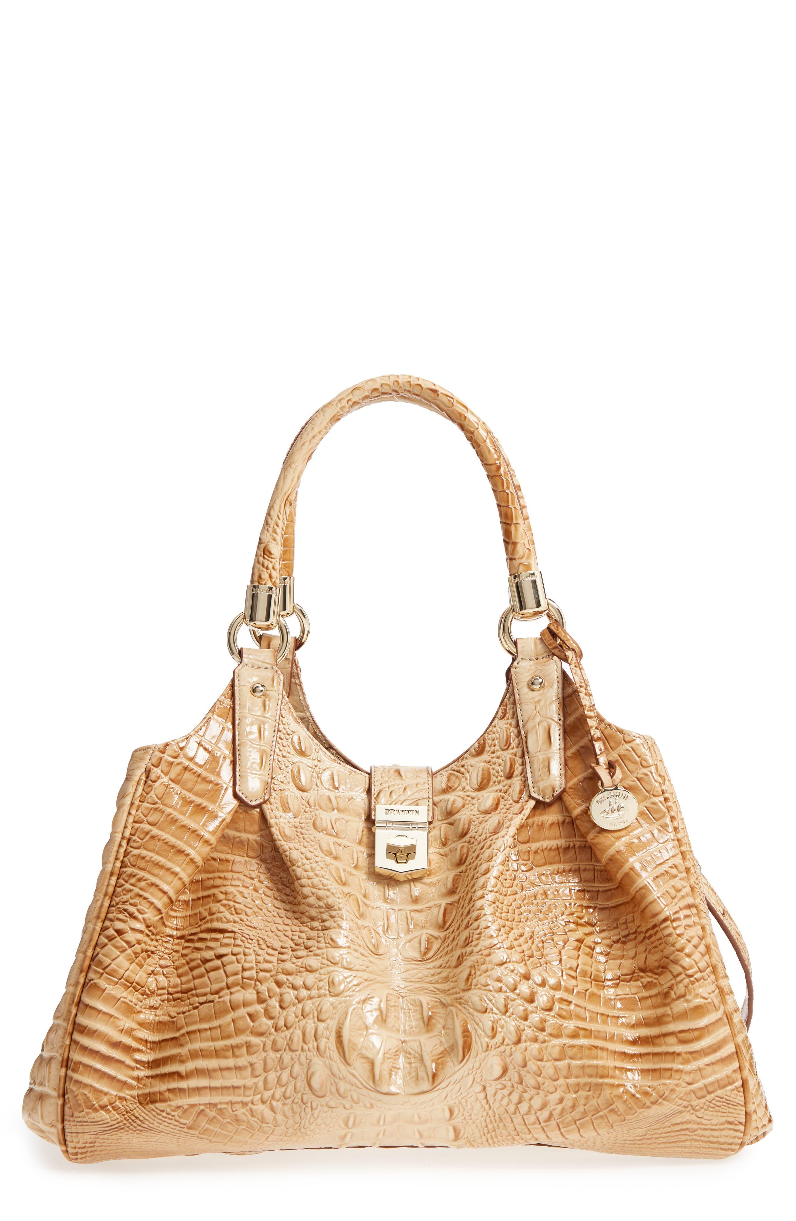 Brahmin Elisa Croc Embossed Leather Shoulder Bag