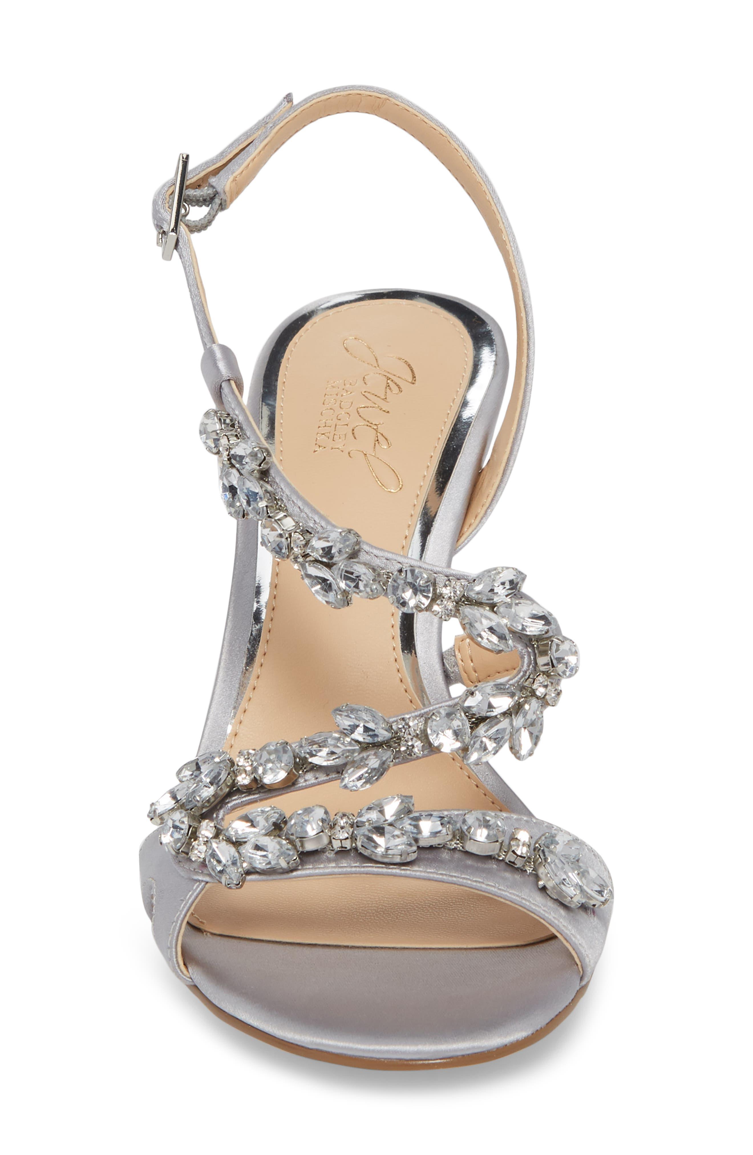 Badgley Mischka Ganet Embellished Sandal,                             Alternate thumbnail 4, color,                             Silver Satin