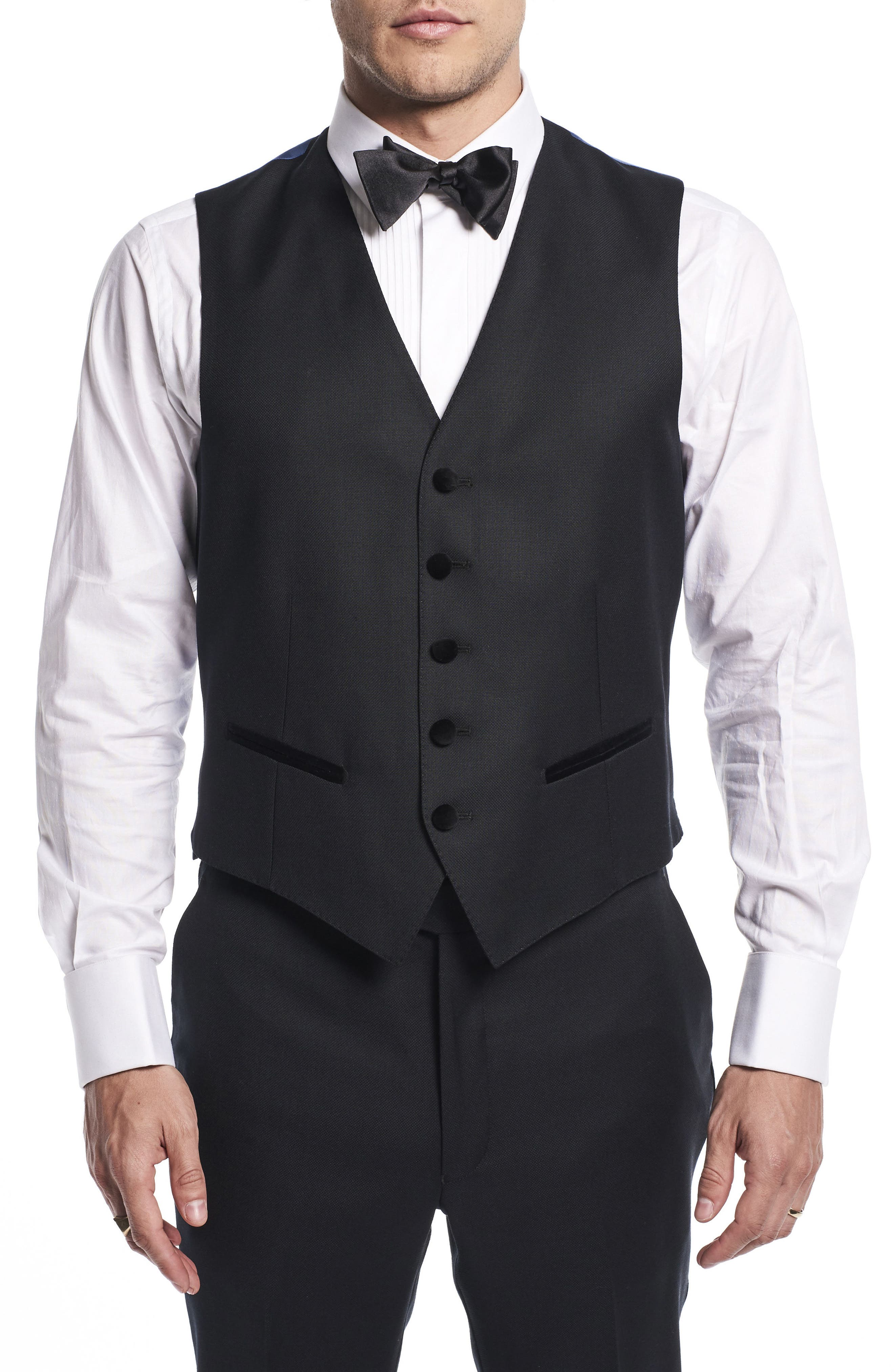 by Ilaria Urbinati Teddy Slim Fit Three-Piece Wool Tuxedo,                             Alternate thumbnail 7, color,                             Textured Black
