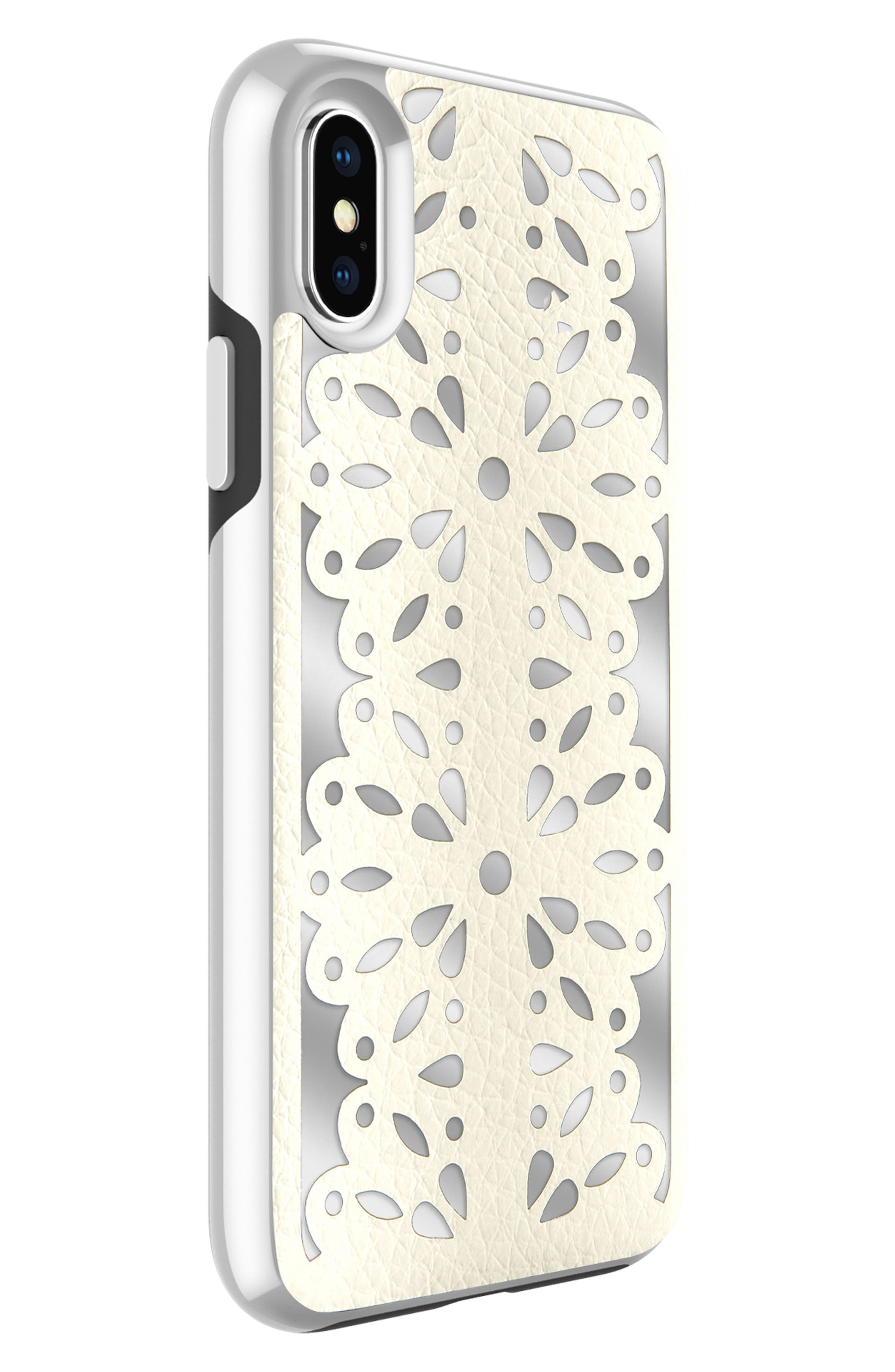 Luxury Calls Laser Lace iPhone X Case,                             Alternate thumbnail 3, color,                             Bianco/ Silver