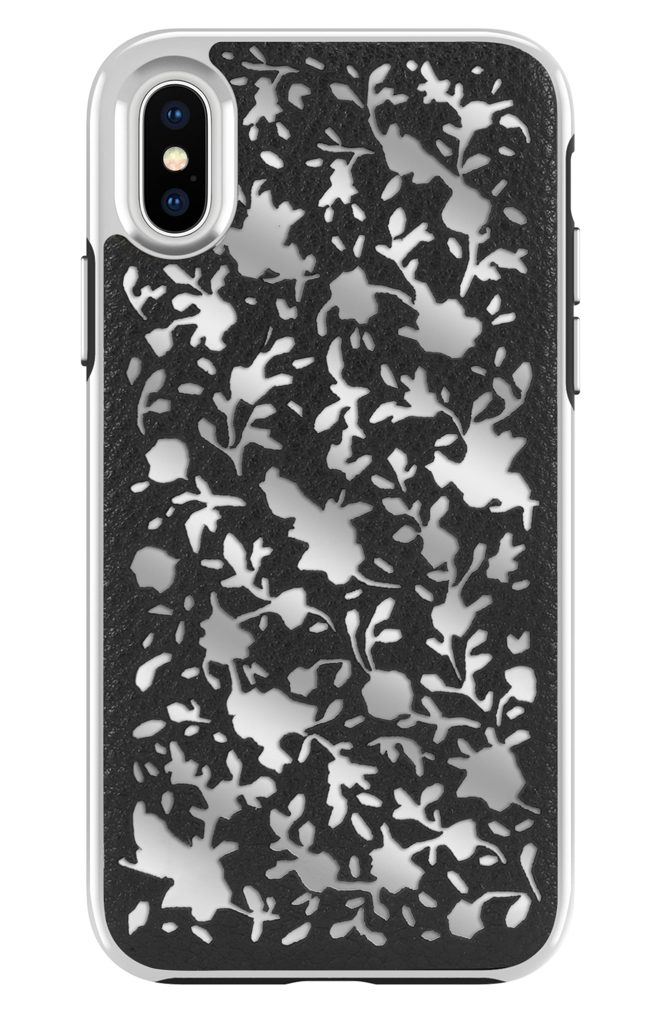 Luxury Calls Ditsy Floral iPhone X Case,                             Main thumbnail 1, color,                             Black/ Silver