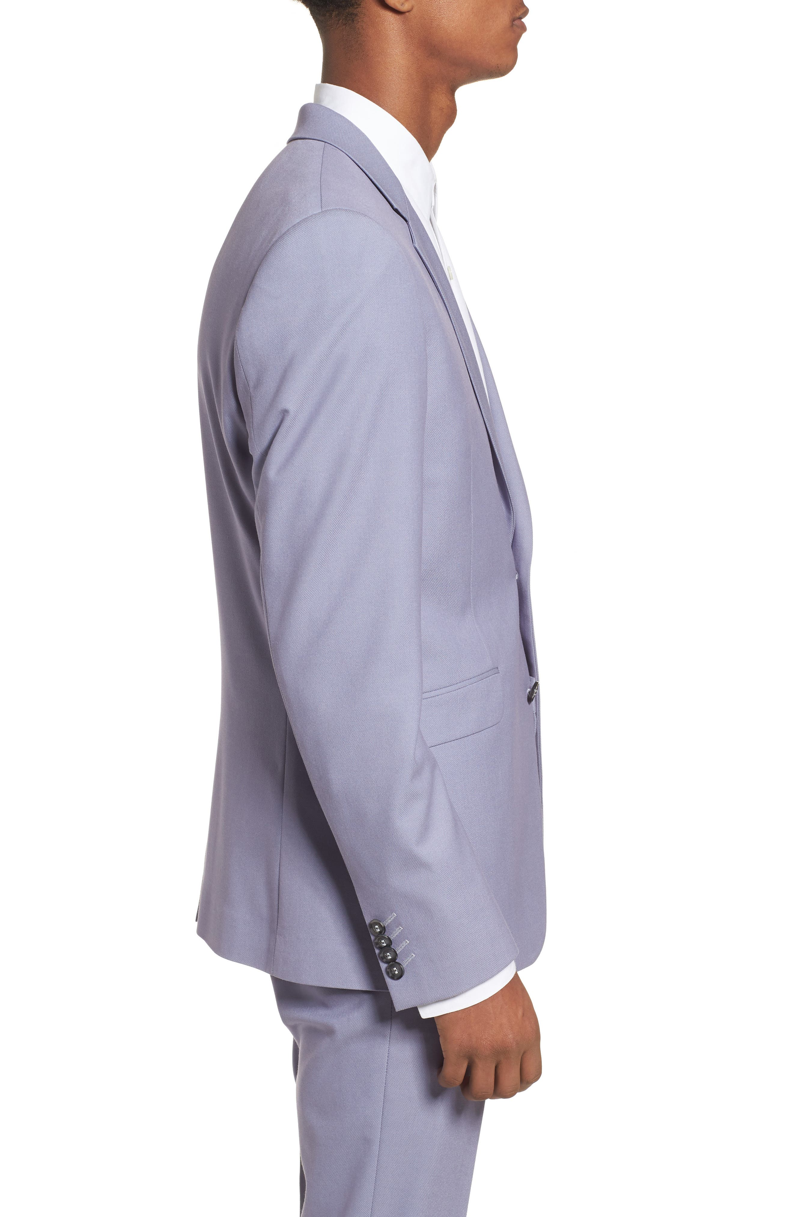 Skinny Fit Suit Jacket,                             Alternate thumbnail 3, color,                             Purple