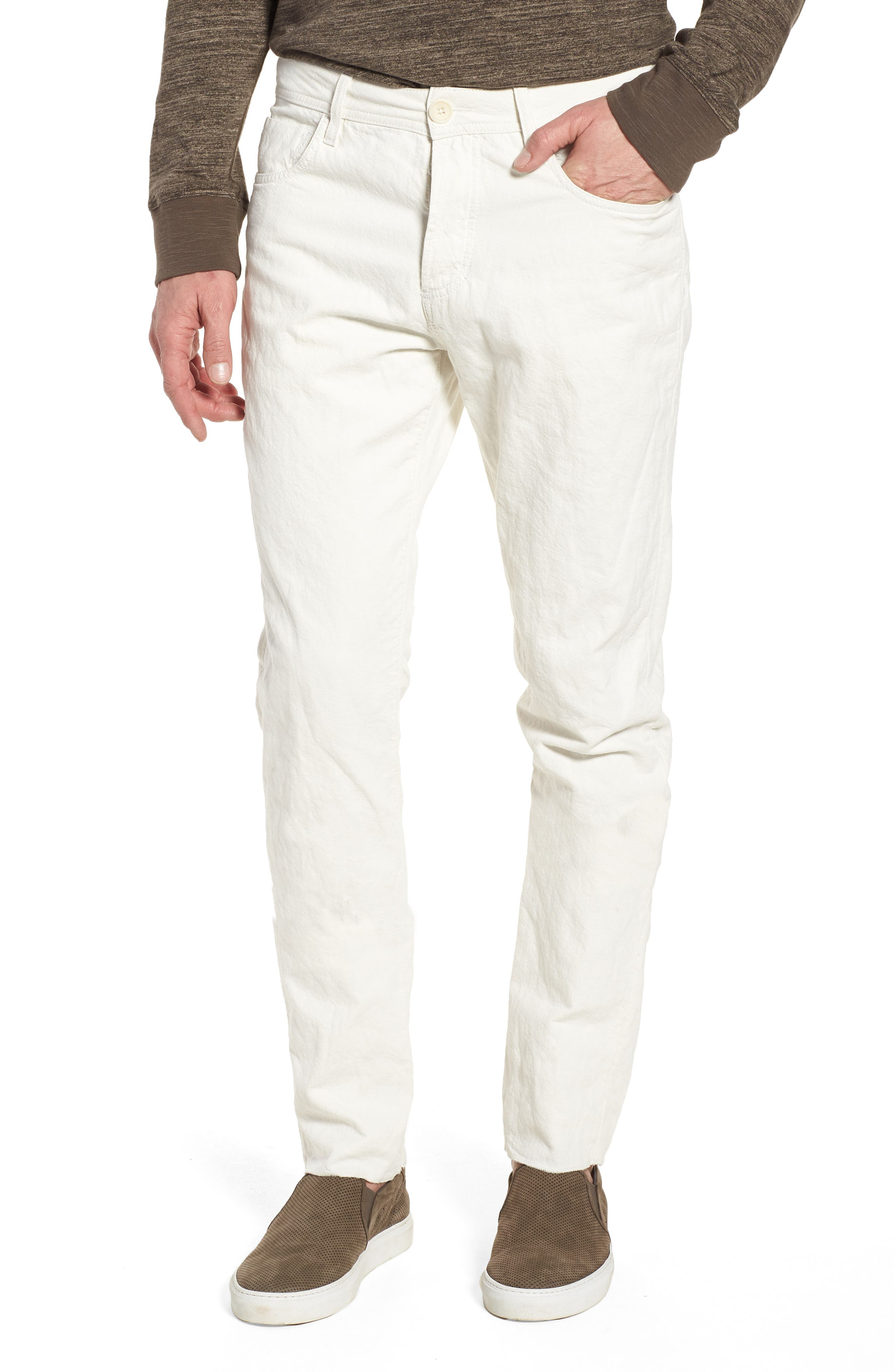 Slim Fit Twill Pants,                         Main,                         color, White