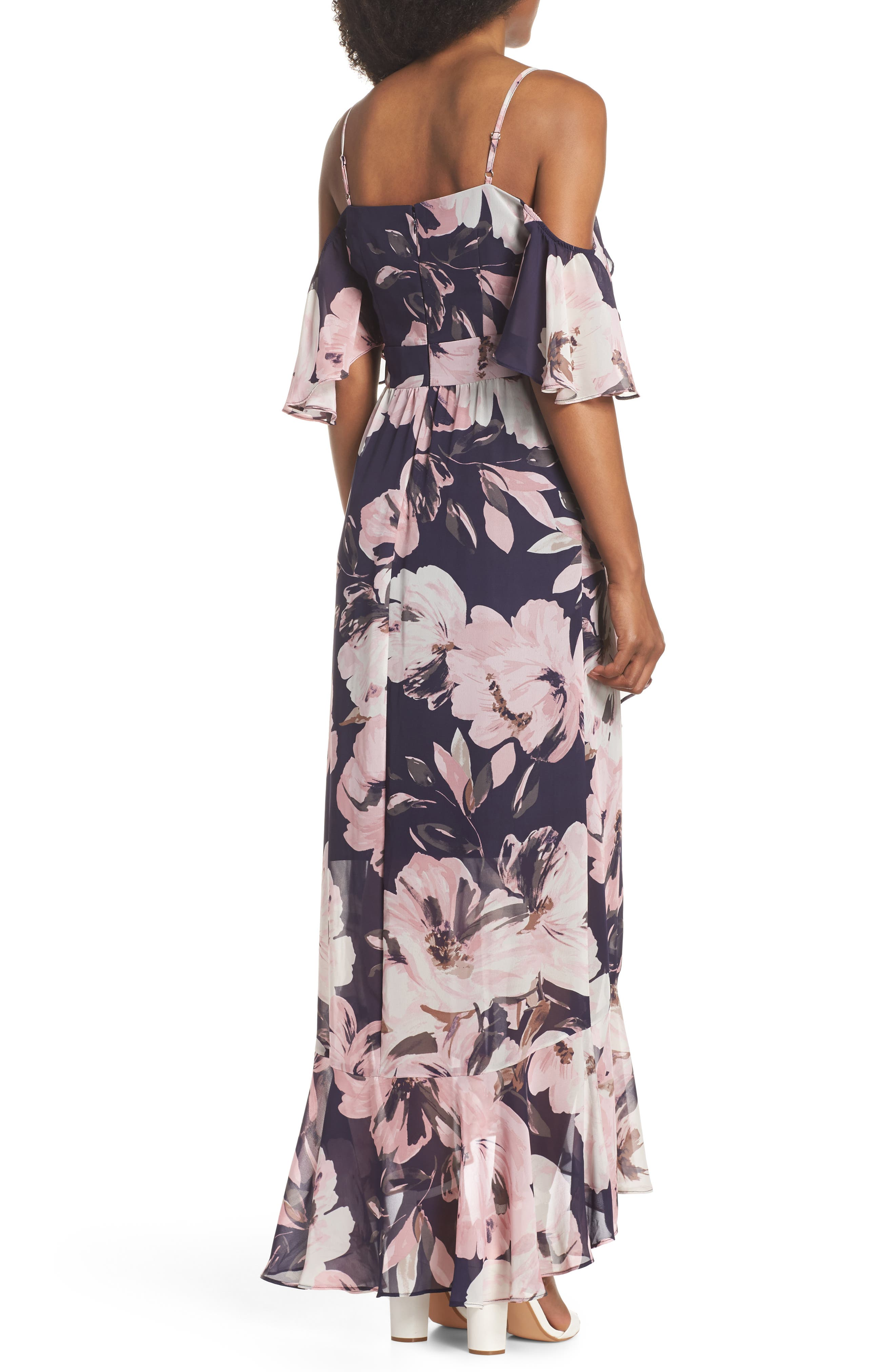 Print Cold Shoulder Chiffon Maxi Dress,                             Alternate thumbnail 2, color,                             Navy Multi