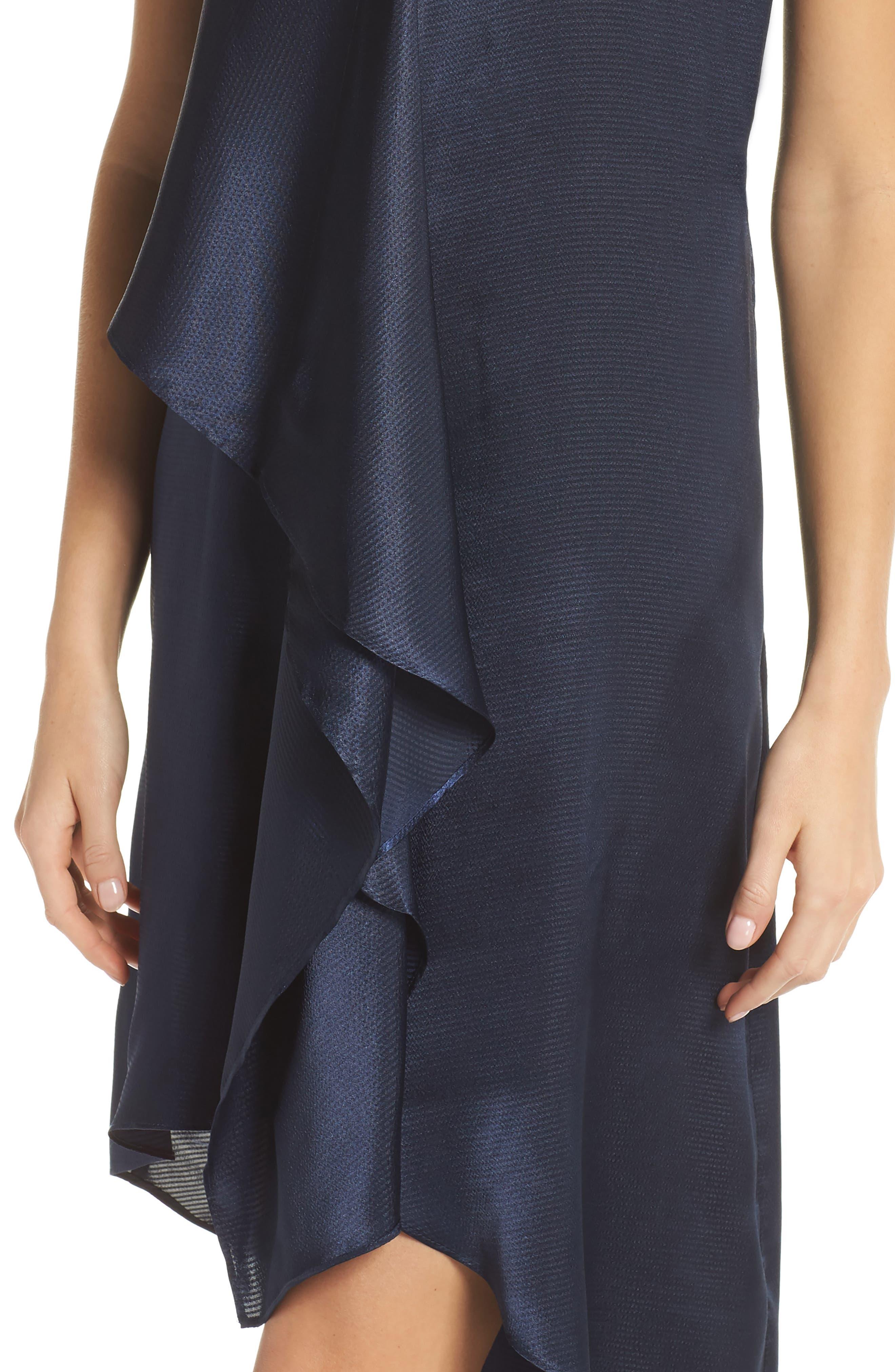 Asymmetrical Sleeveless Trapeze Dress,                             Alternate thumbnail 4, color,                             Blue Moon