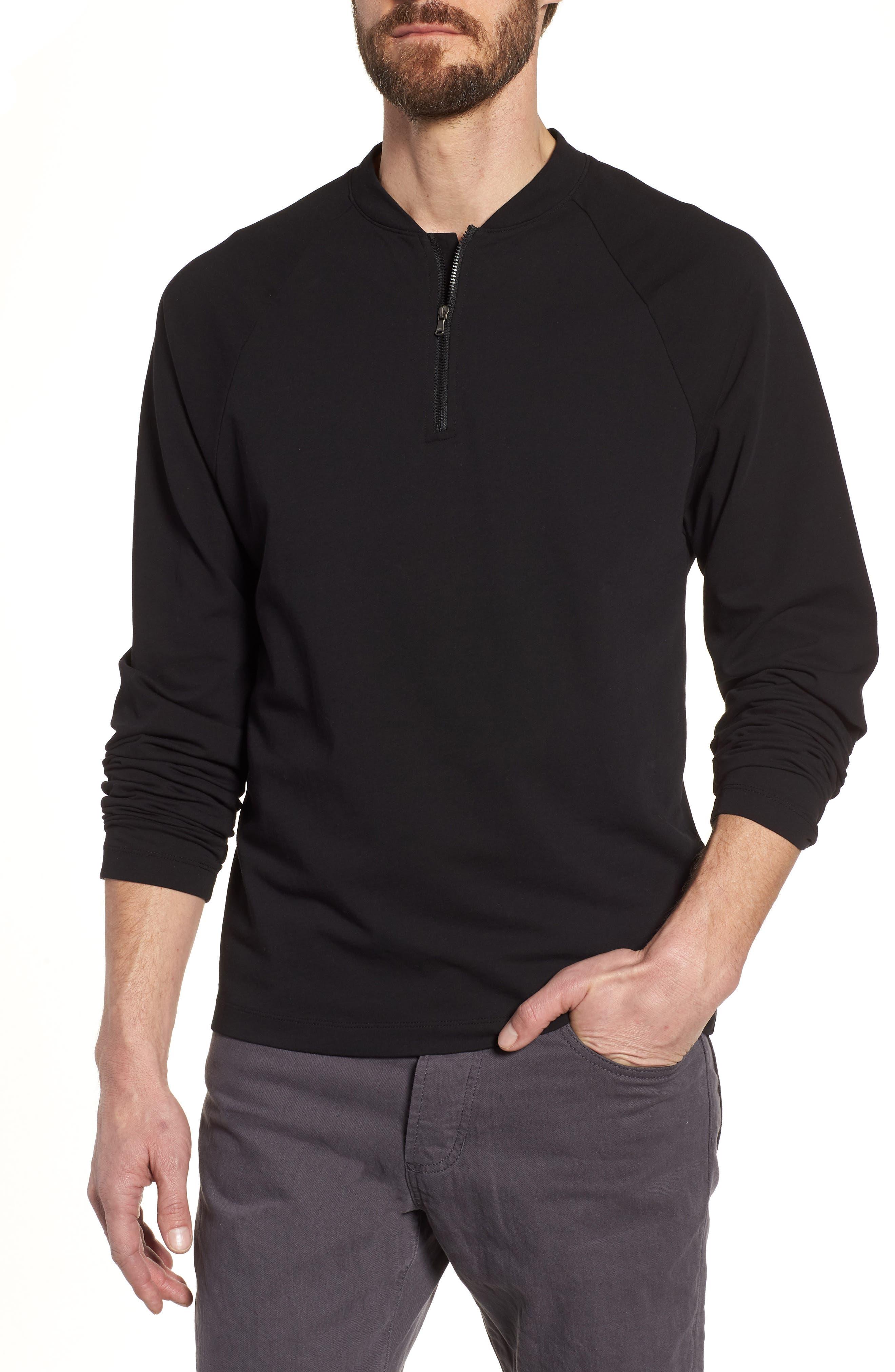 Regular Fit Half Zip Baseball Pullover,                         Main,                         color, Black