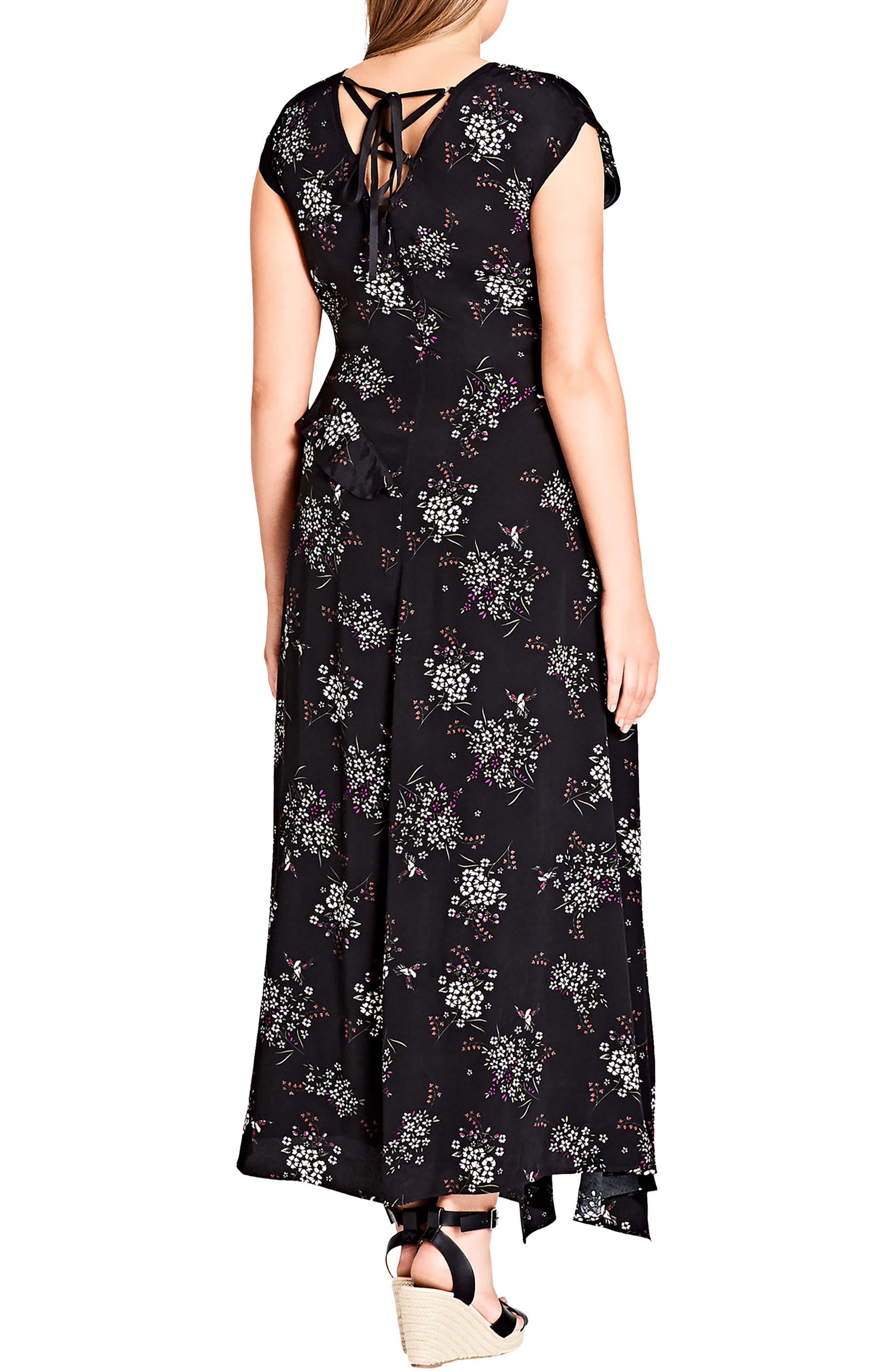 Asymmetric Paneled Maxi Dress,                             Alternate thumbnail 2, color,                             Floral Mix