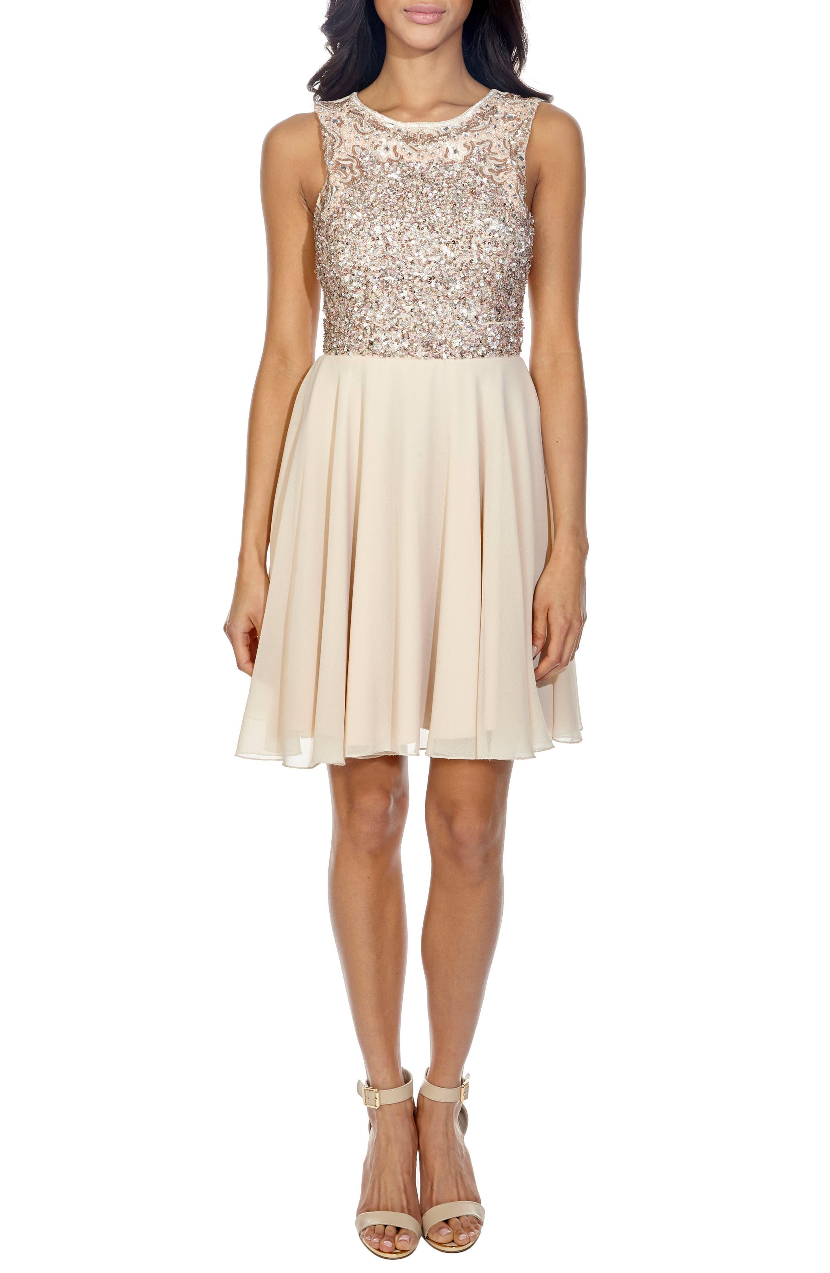 Corals Sequin Back Cutout Dress,                         Main,                         color, Cream