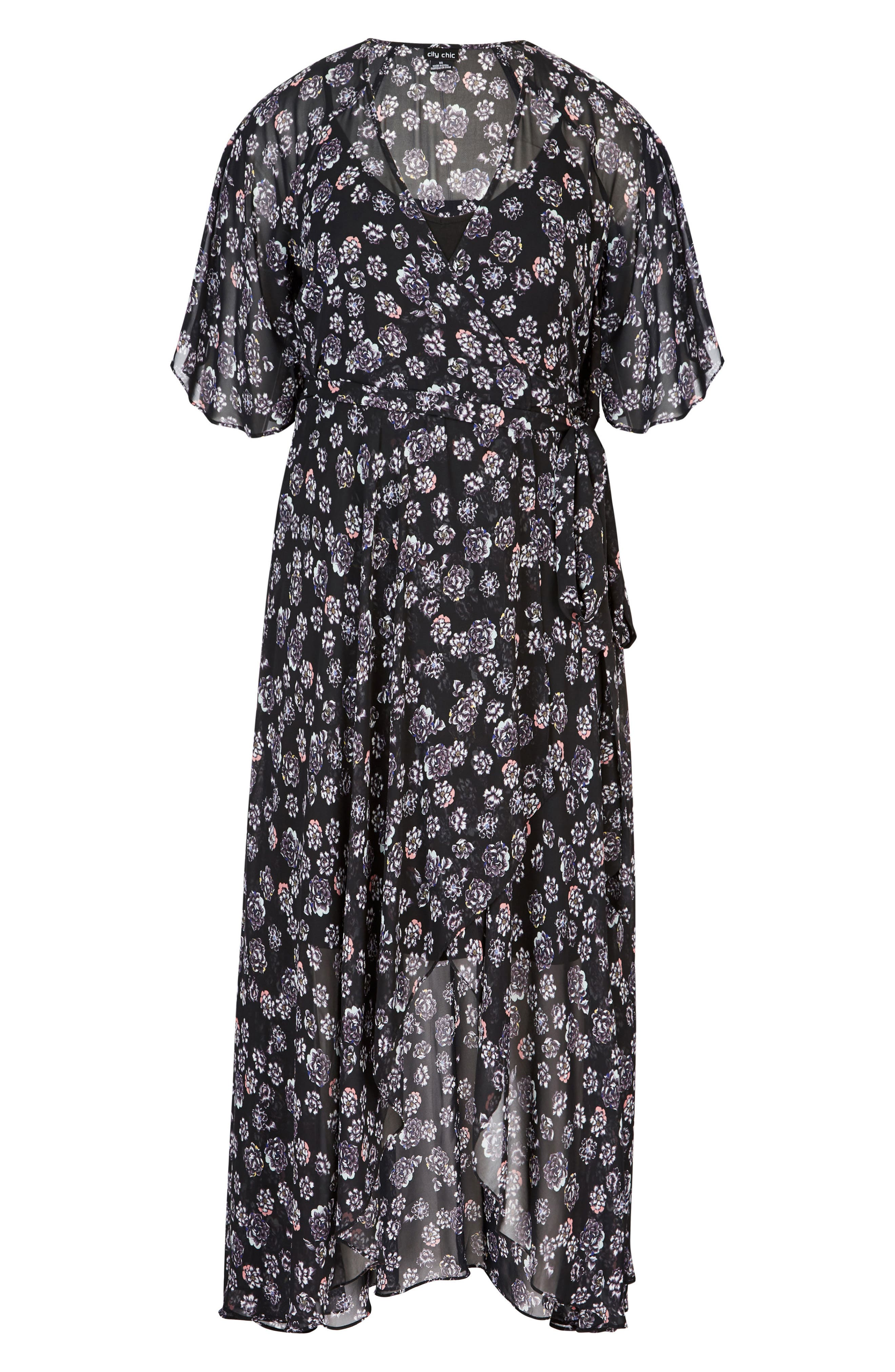 Alternate Image 3  - City Chic Mini Flower Maxi Dress (Plus Size)